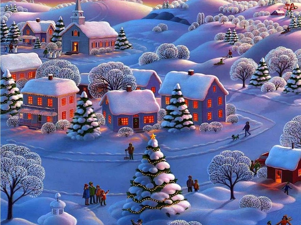 Malarstwo, Domy, Boże, Zima, Narodzenie