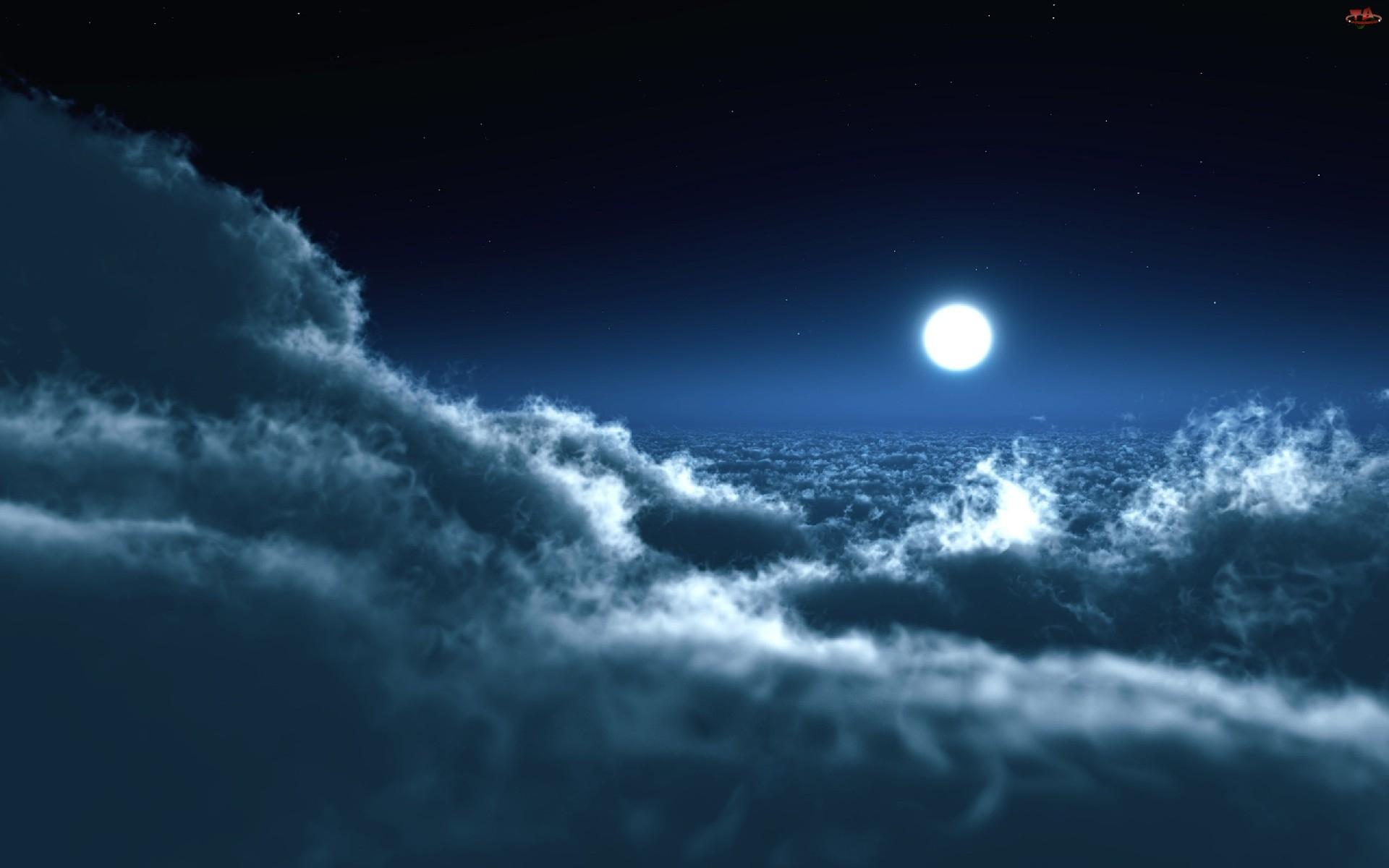 Noc, Chmury, Księżyc, Niebo