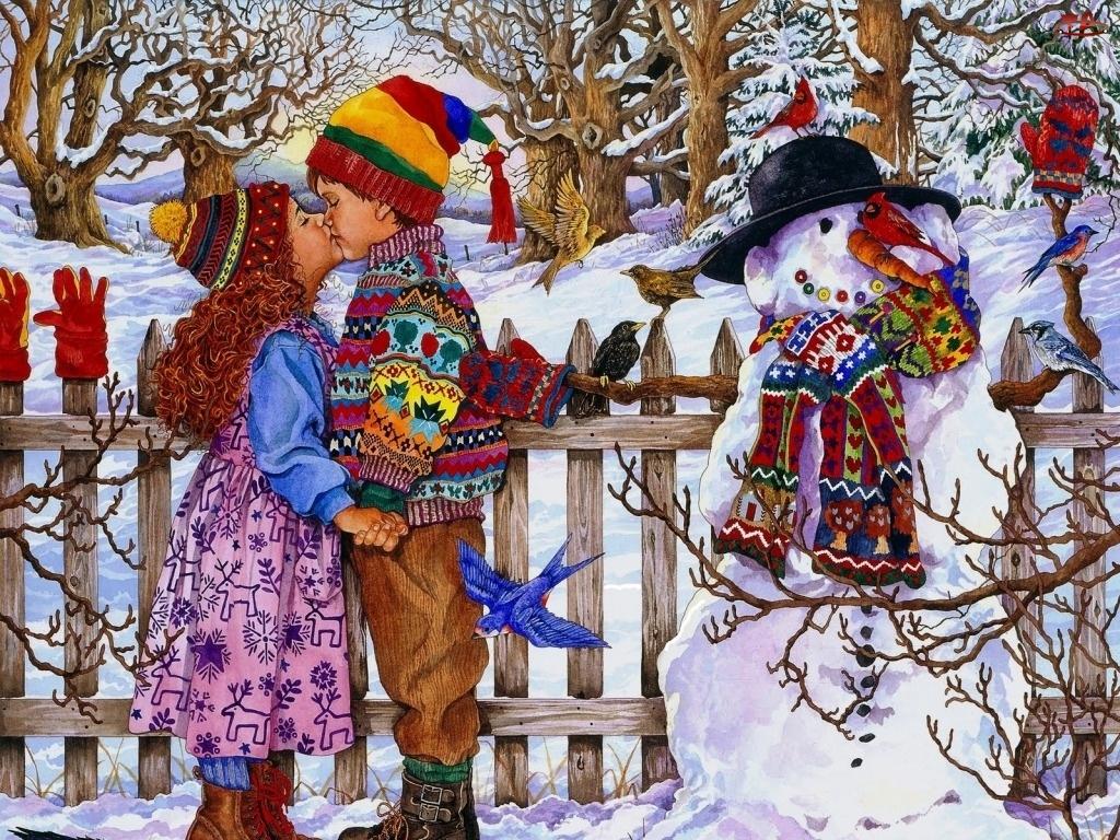 Malarstwo, Dziewczynka, Bałwan, Chłopiec, Zima
