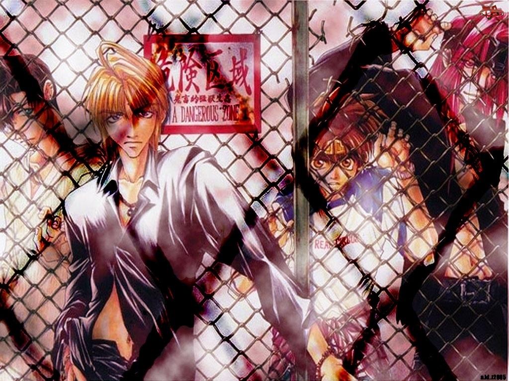 tabliczka, Saiyuki, siatka, płot, ludzie