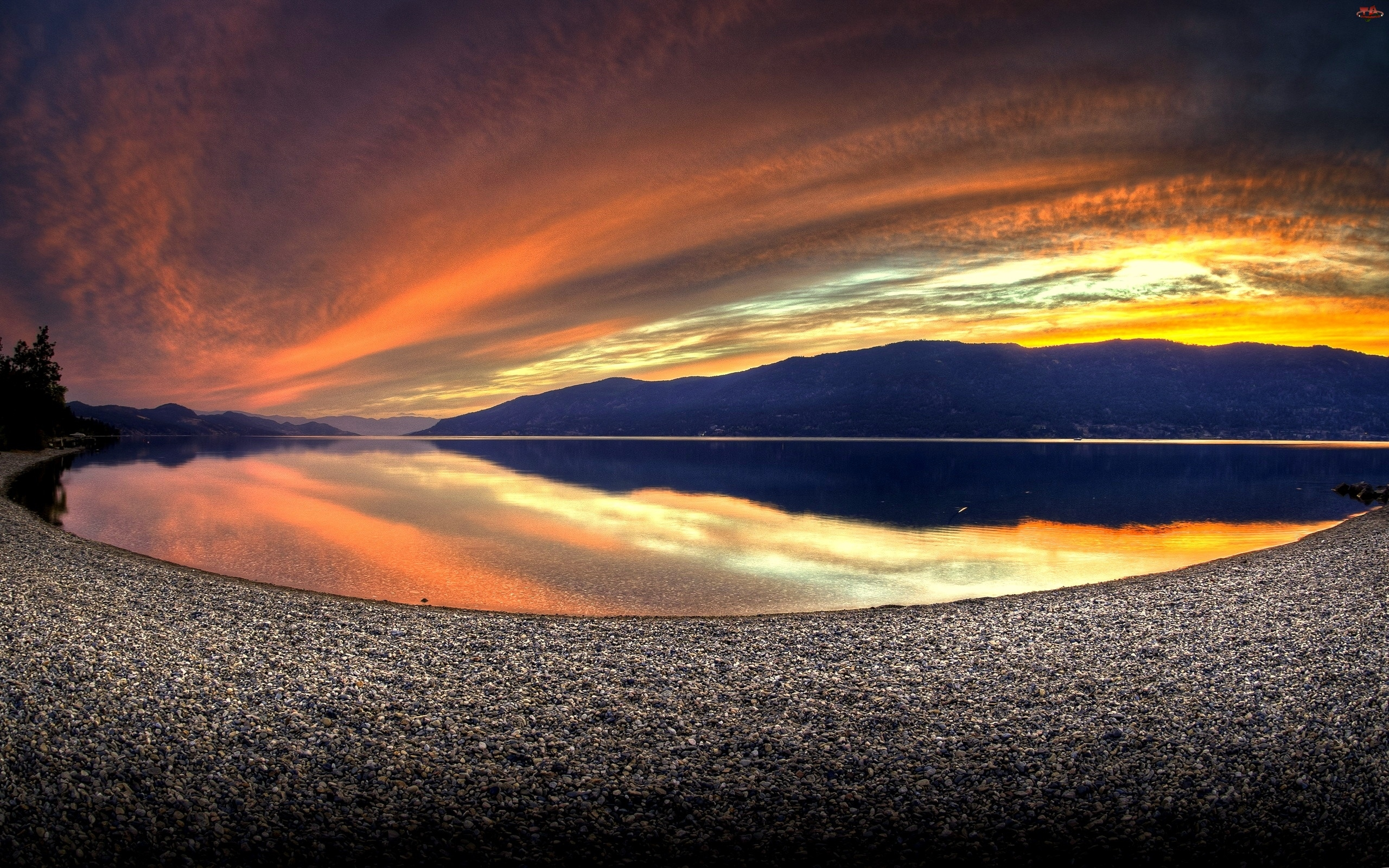 Góry, Niebo, Jezioro, Wybrzeże