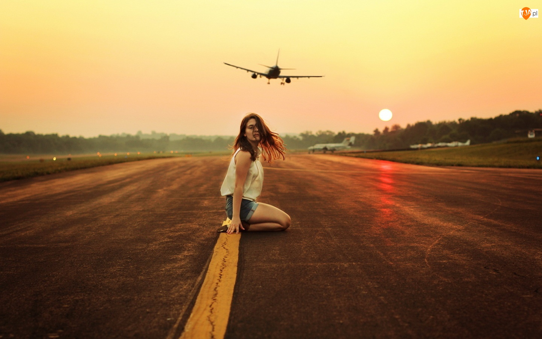 Kobieta, Samolot, Pas, Startowy