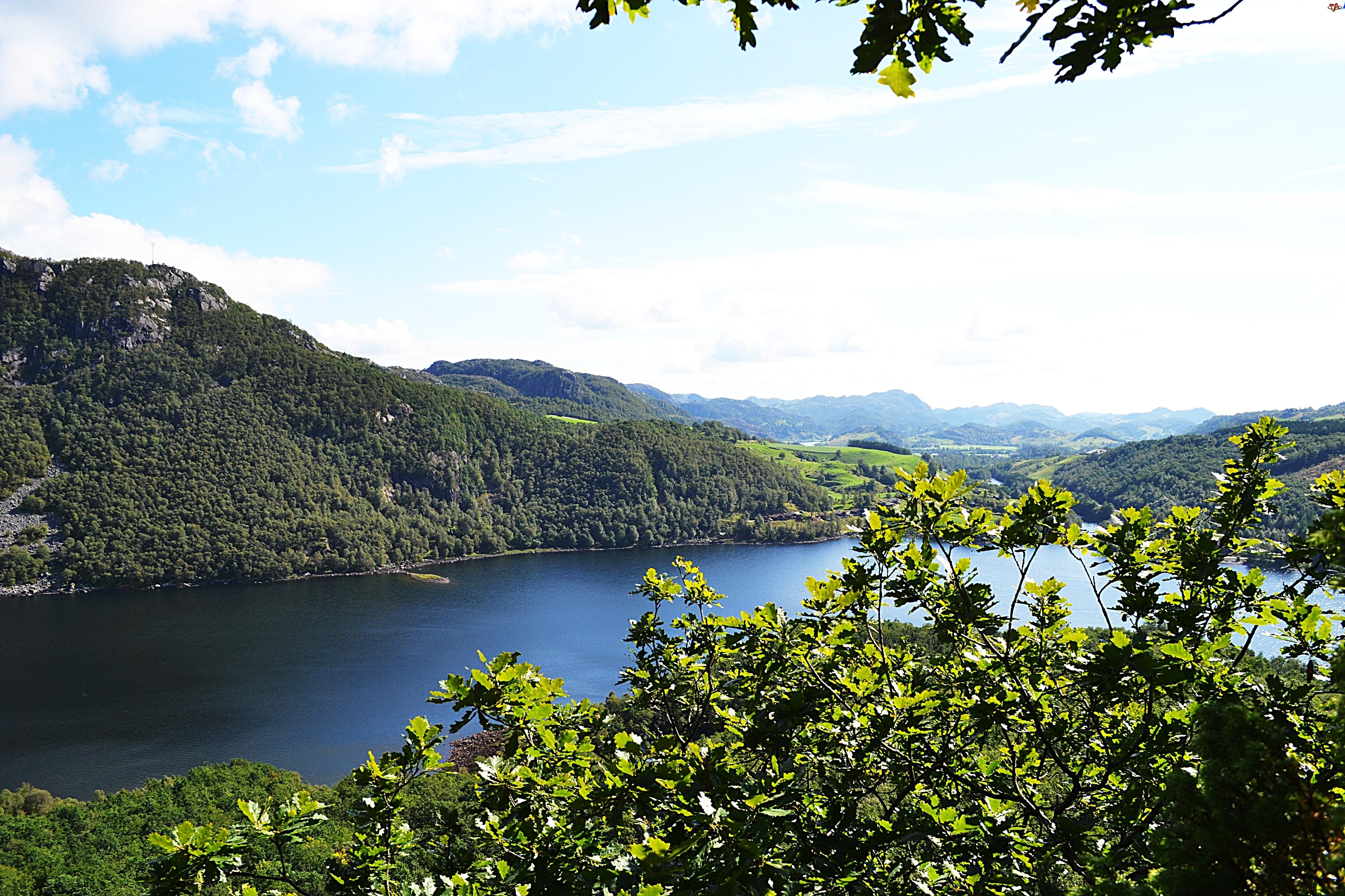 Góry, Norwegia, Jezioro, Krajobraz