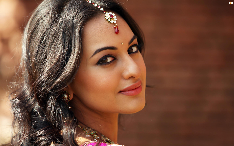 Piękna, Makijaż, Hinduska, Tilaka