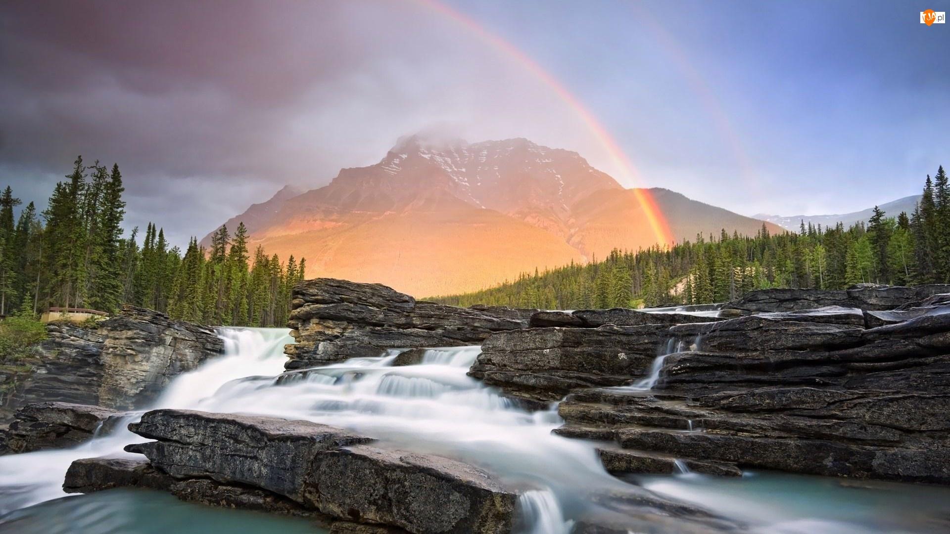 Tęcza, Wodospad, Las, Skały, Góry