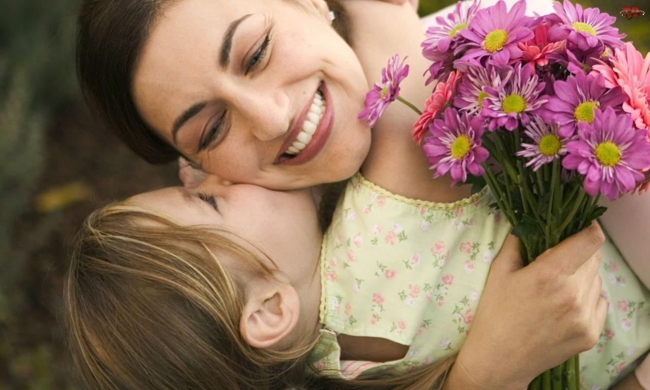 Gerbery, Mama, Bukiet, Dziecko, Kwiaty