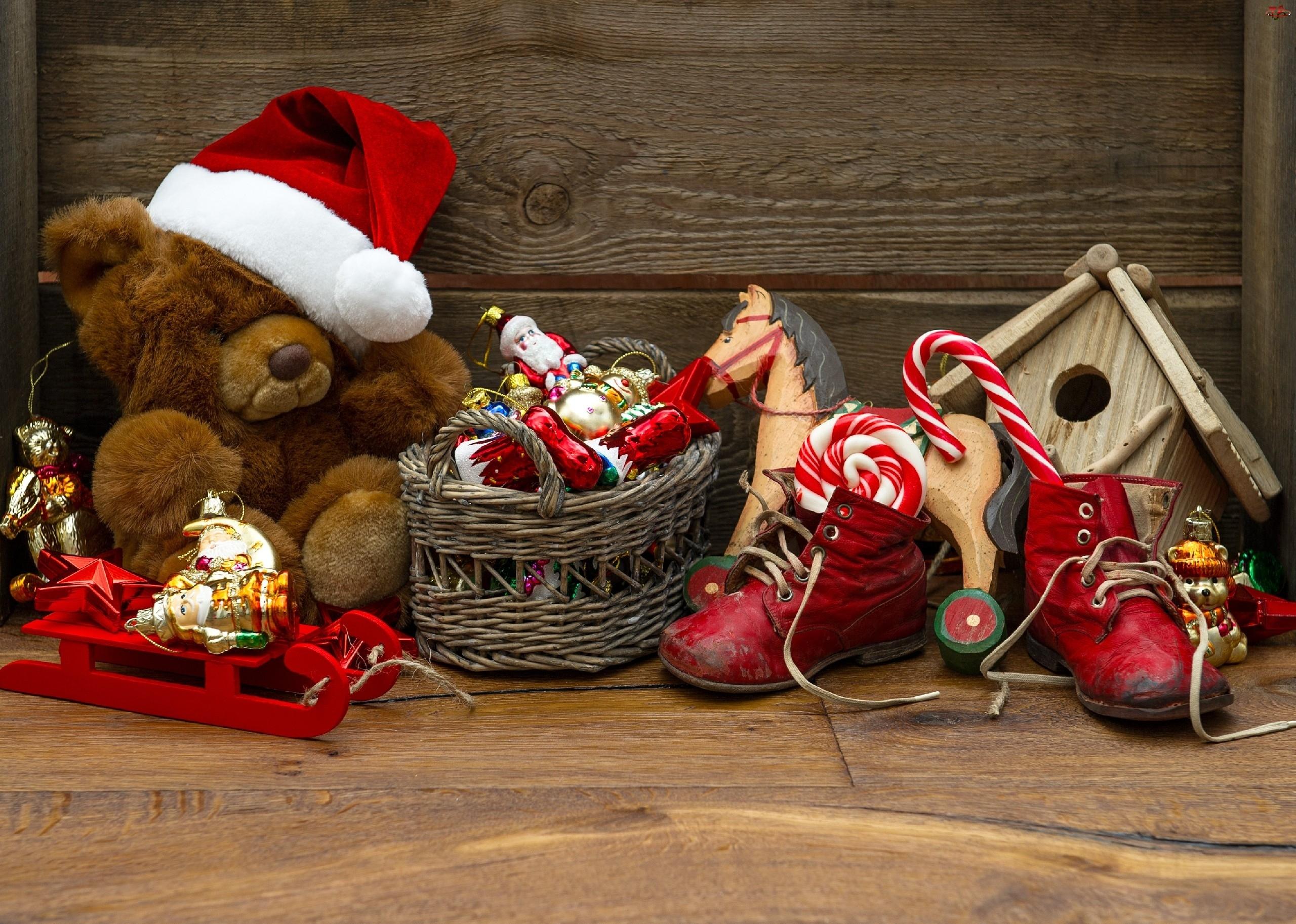 Święta, Miś, Mikołaja, Czapka, Stroik