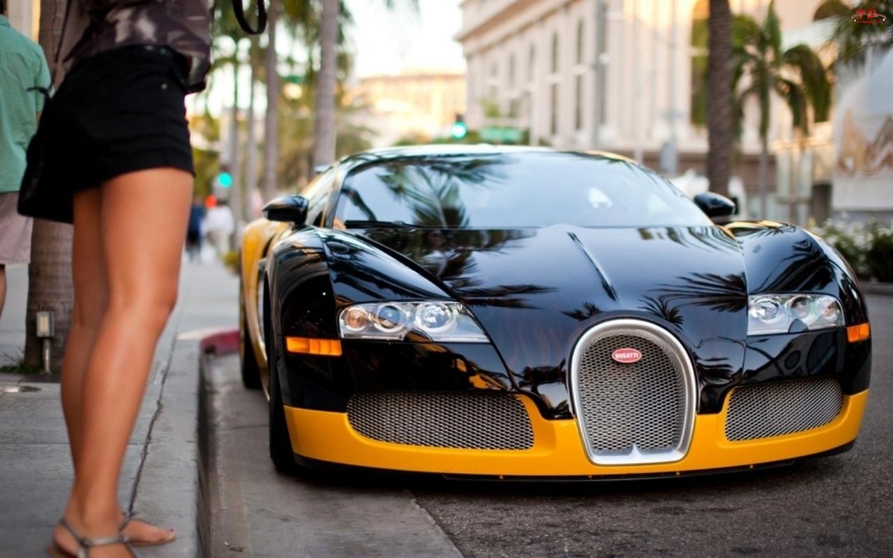 Miasto, Kobieta, Bugatti, Auto, Ulica, Veyron, Nogi