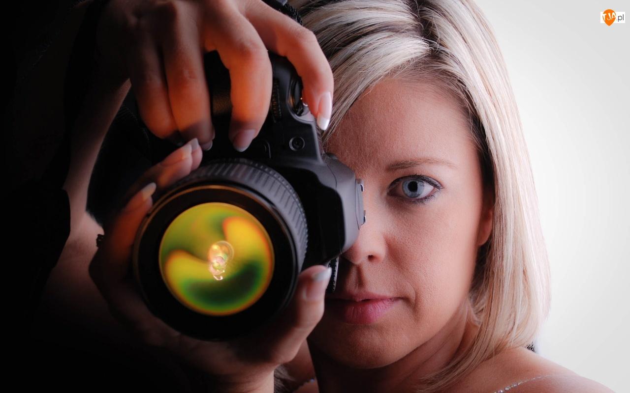 Kobieta, Fotograficzny, Blondynka, Aparat