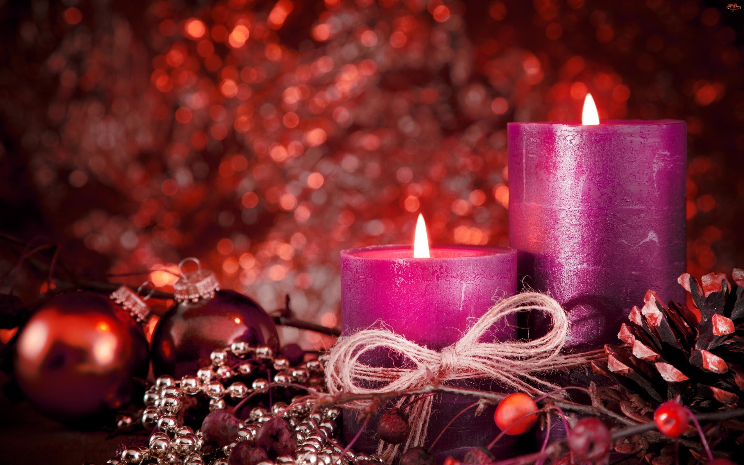 Świąteczna, Bombki, Świece, Fioletowe, Dekoracja