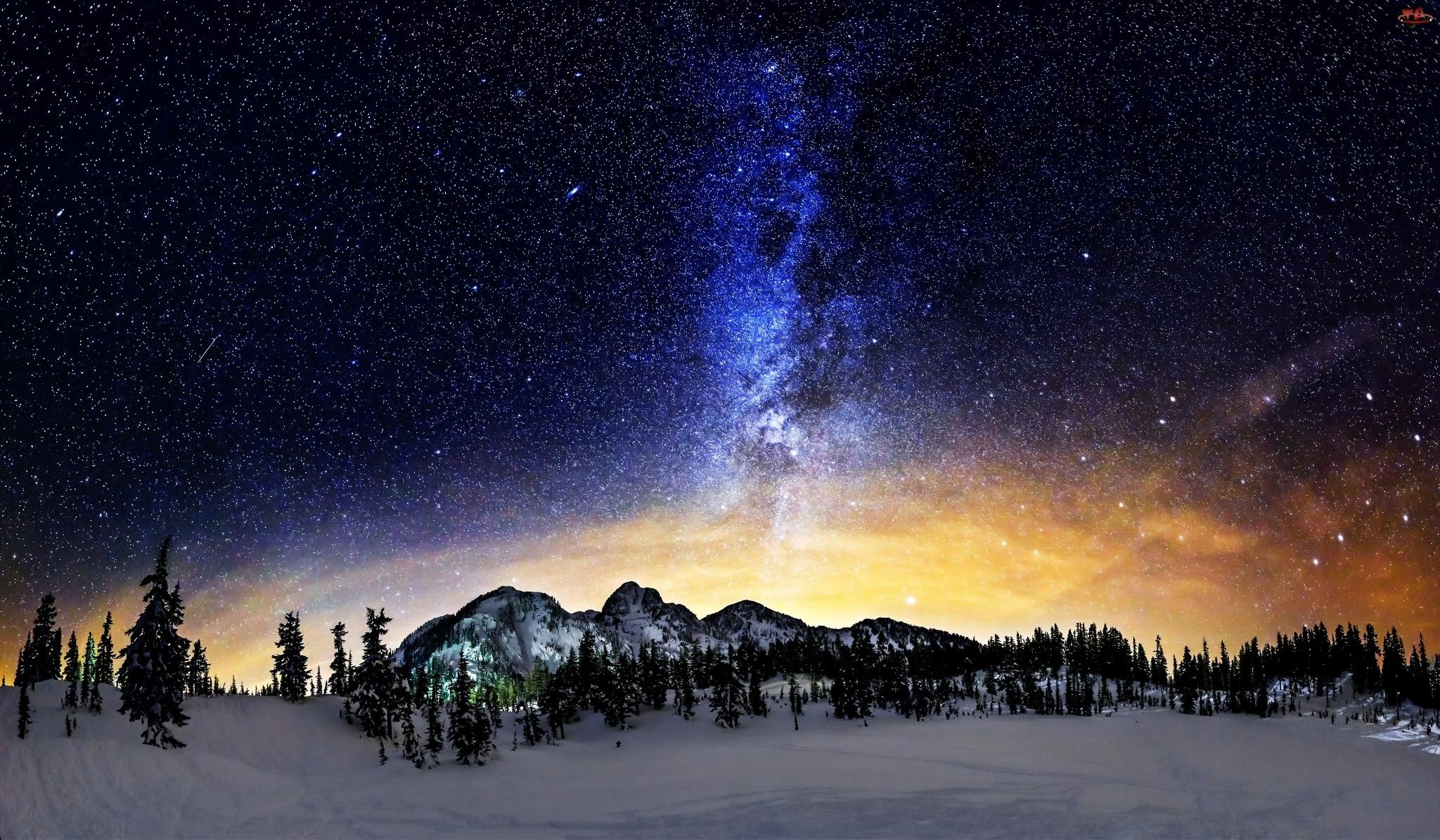 Zima, Gwiazdy, Góry, Droga Mleczna