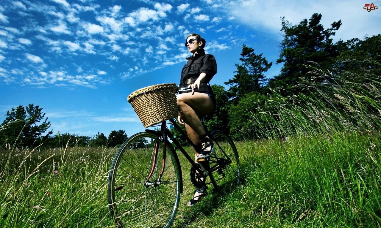 Trawa, Błękitne, Kobieta, Niebo, Rower, Drzewa