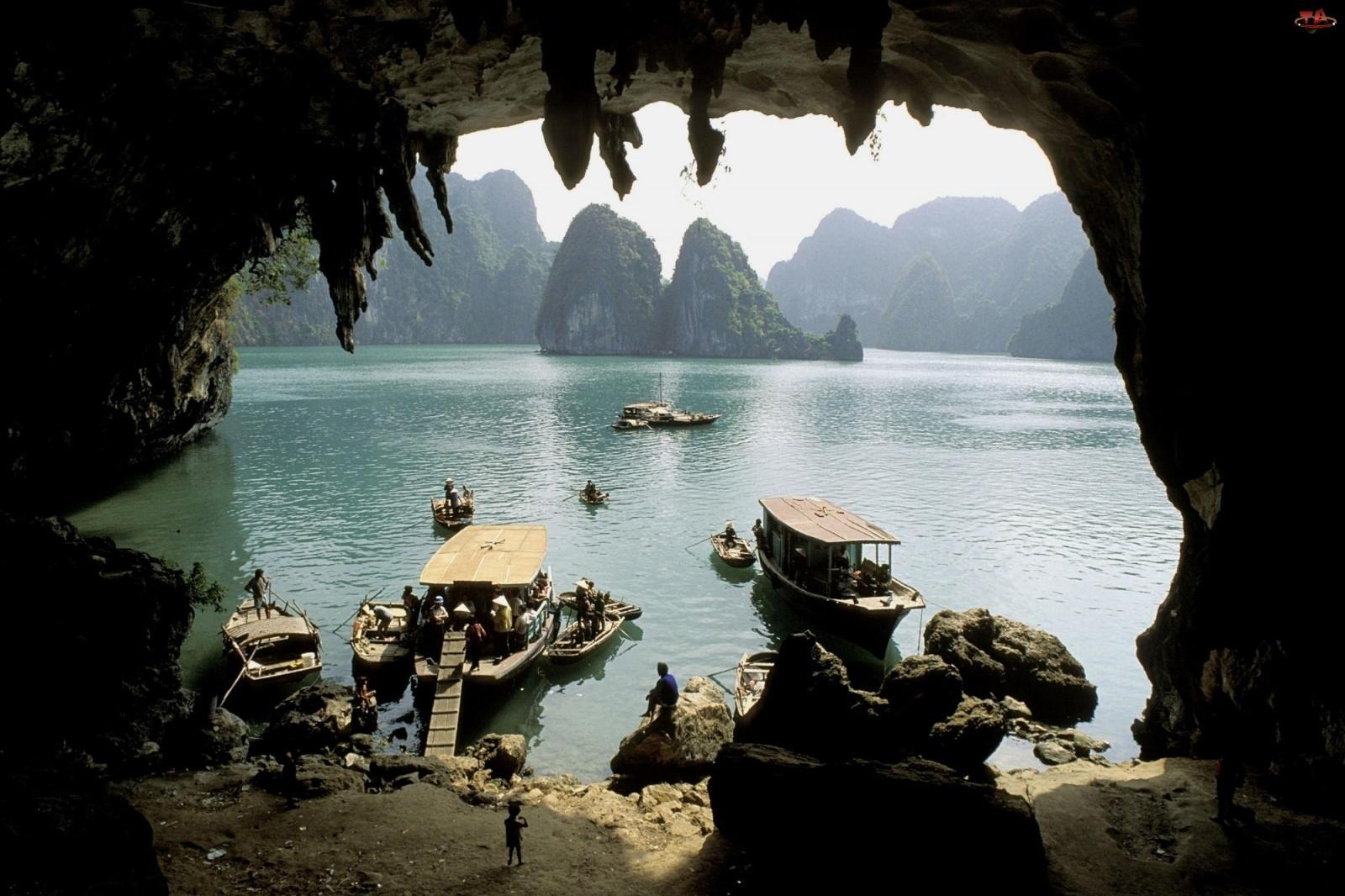 Jaskinia, Łodzie, Góry, Rybackie, Grota, Jezioro