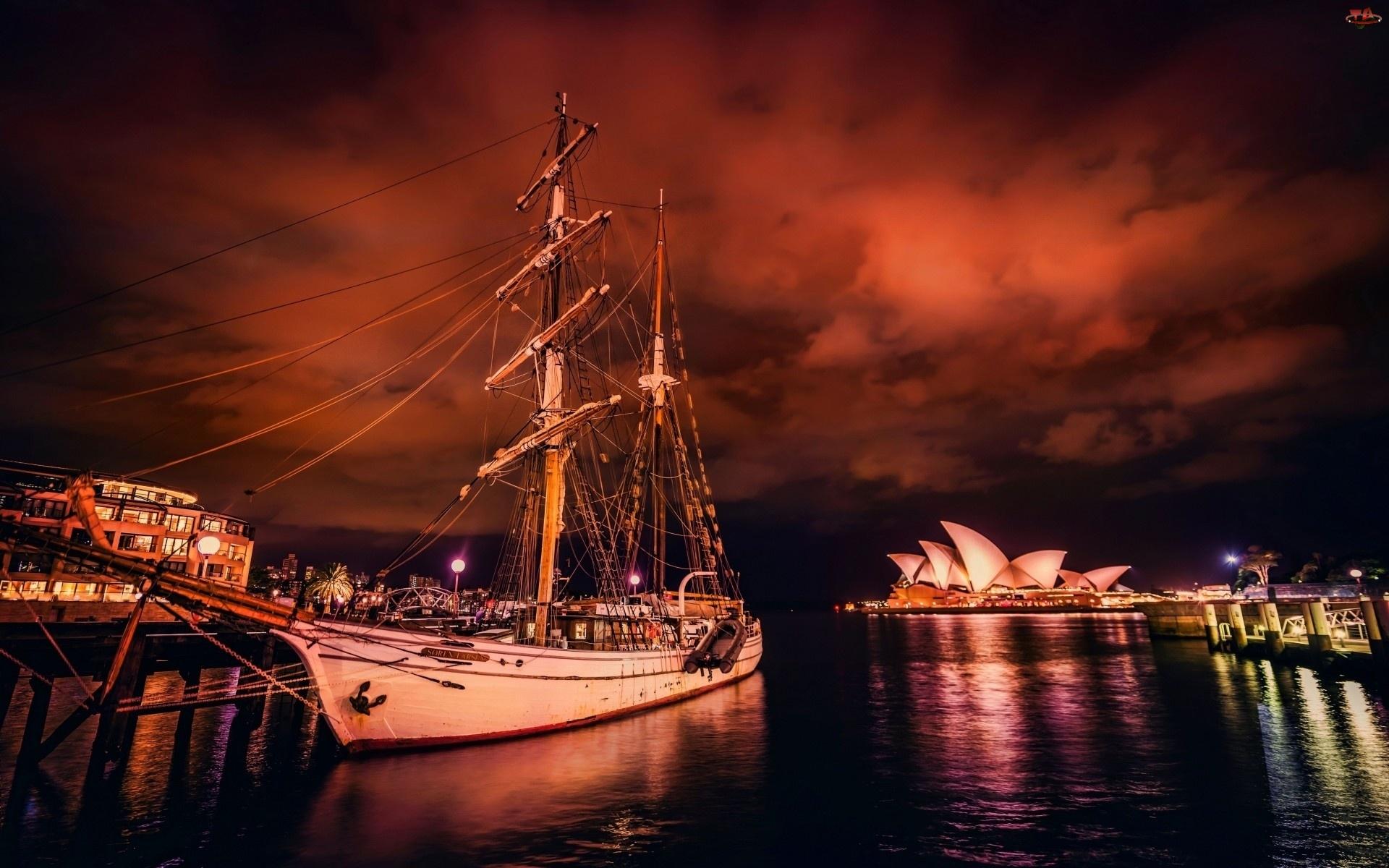 Żaglowiec, Noc, Opera, Sydney