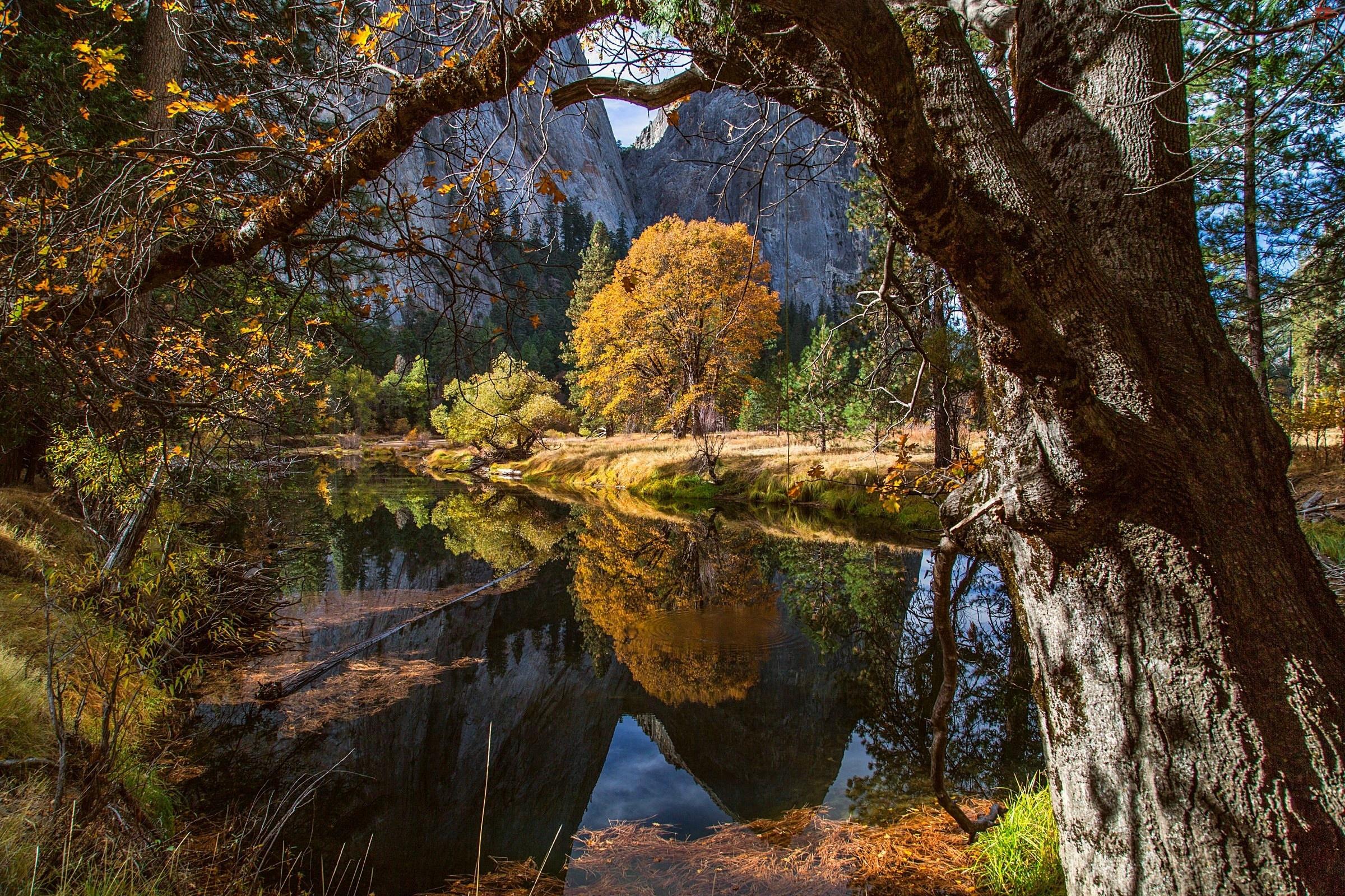 USA, Góry, Jesień, Rzeka, Park Narodowy Yosemite