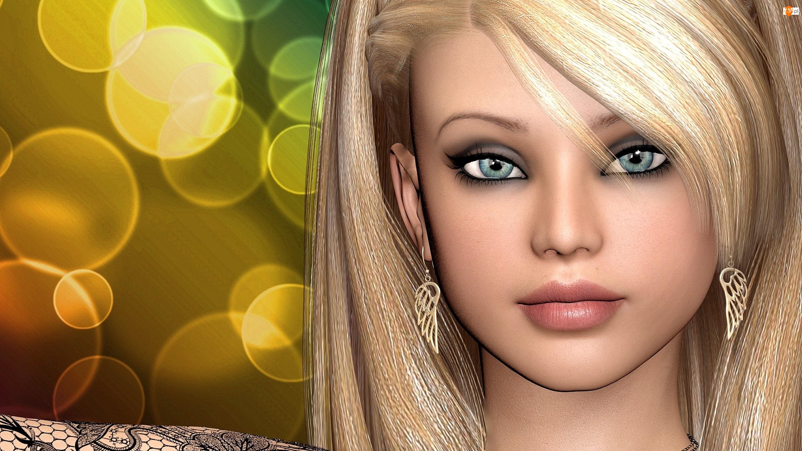 3D, Dziewczyna, Portret, Kolczyki, Grafika