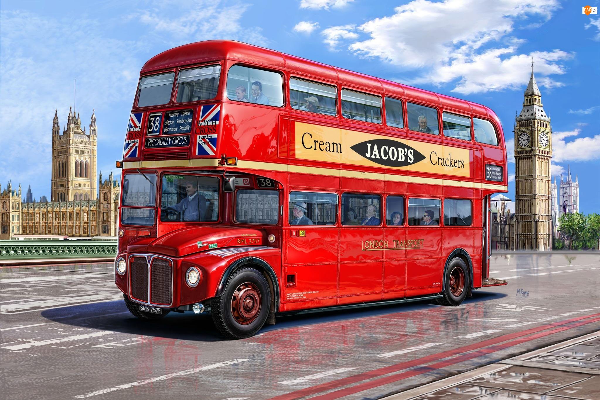 Autobus, Londyn, Most, Big Ben
