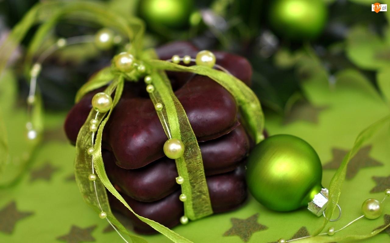 Świątecznie, Zielona, Wstążeczka, Bombka, Gwiazdki
