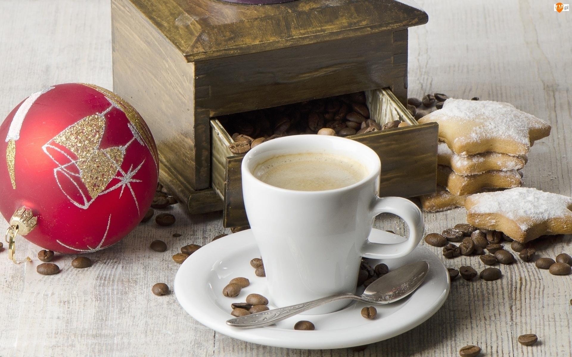 Ciasteczka, Filiżanka, Bombka, Kawy, Świąteczna