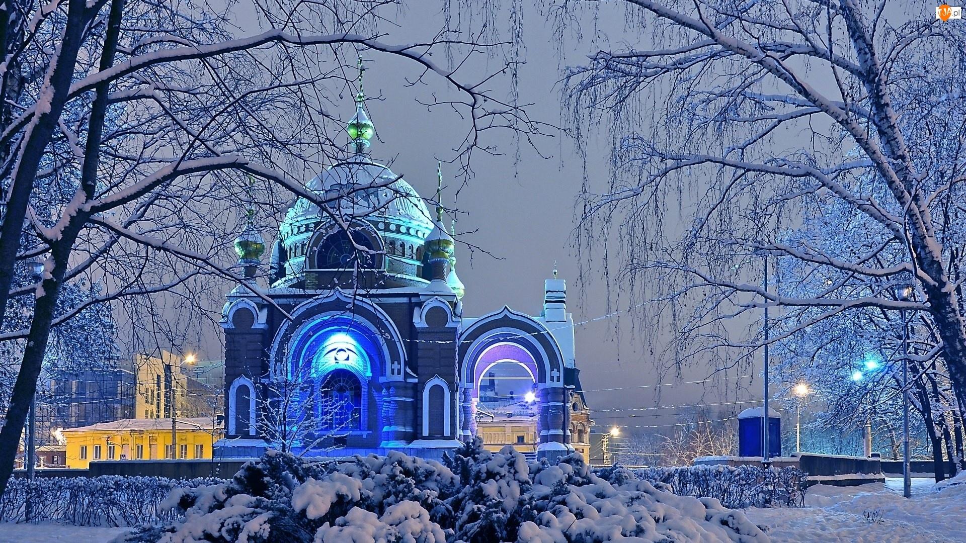 Cerkiew, Zima, Drzewa, Śnieg