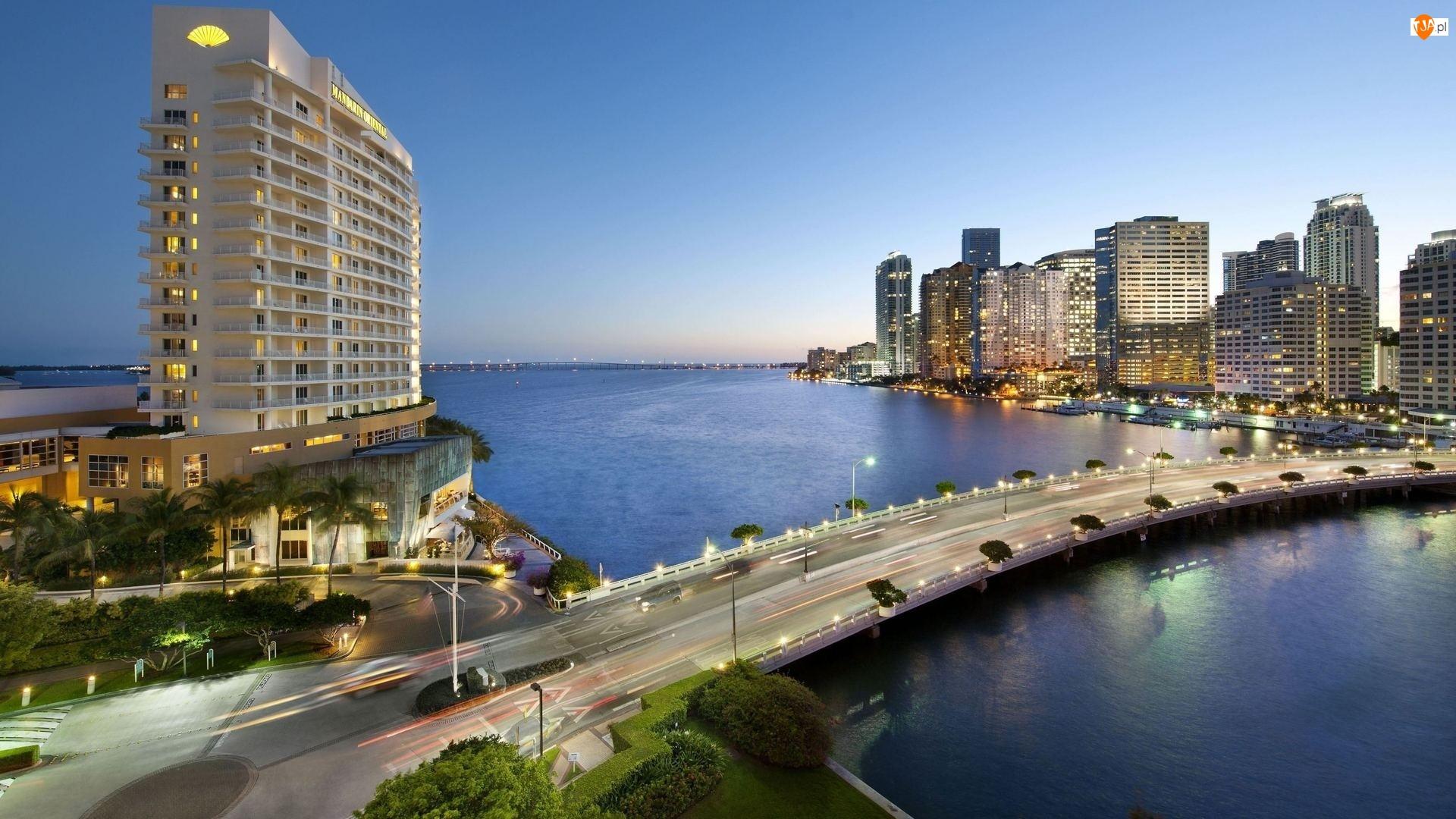 Ocean, Wieżowce, Miami, Panorama, Floryda, Most
