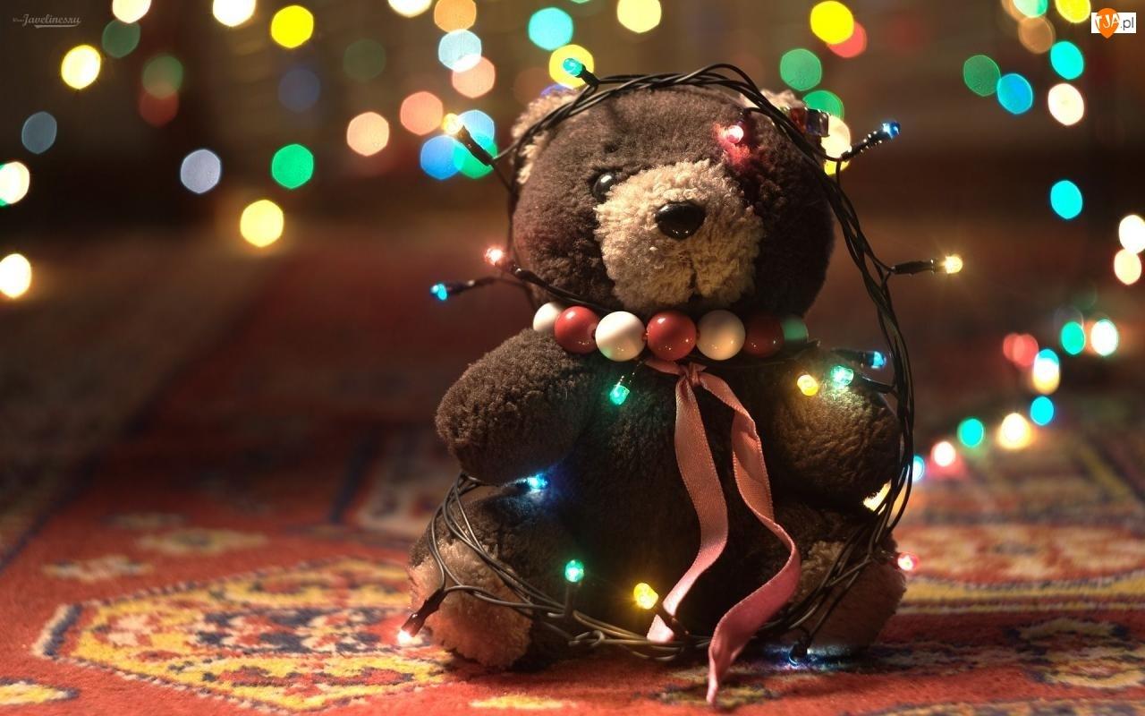 Pluszowy, Korale, Boże, Światełka, Narodzenie, Misio