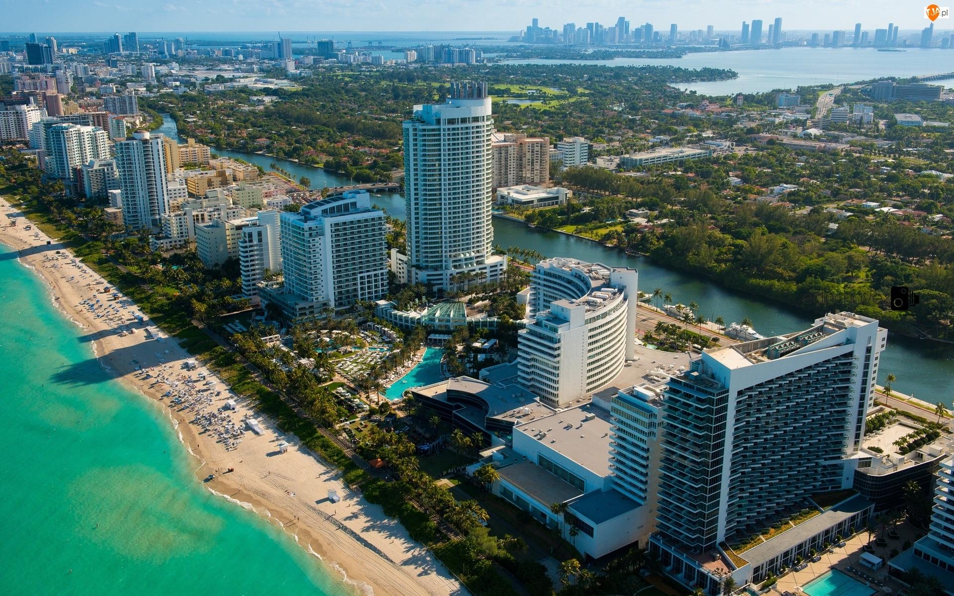 Floryda, Wieżowce, Ocean, Plaża, Miami