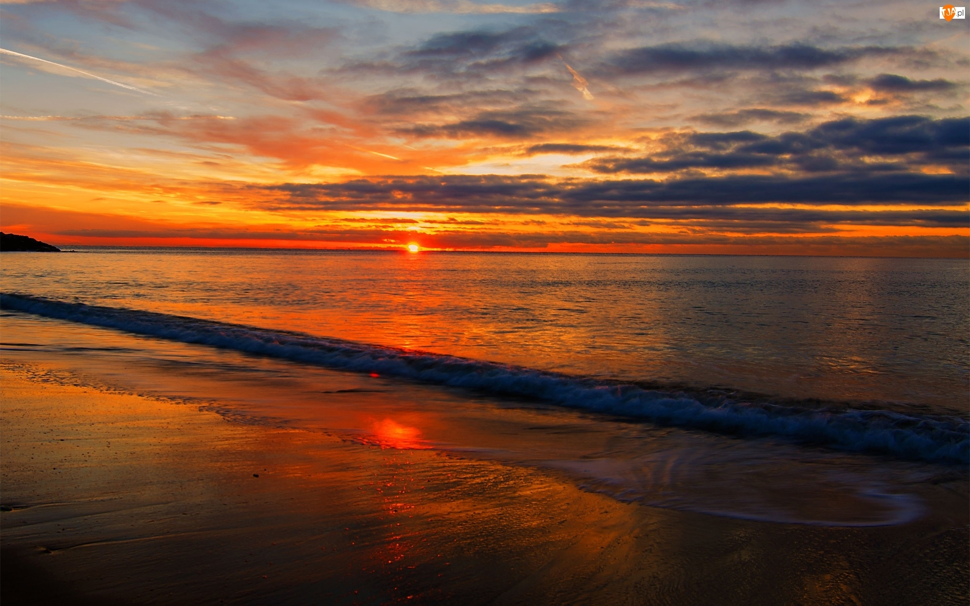 Zachód słońca, Plaża, Morze