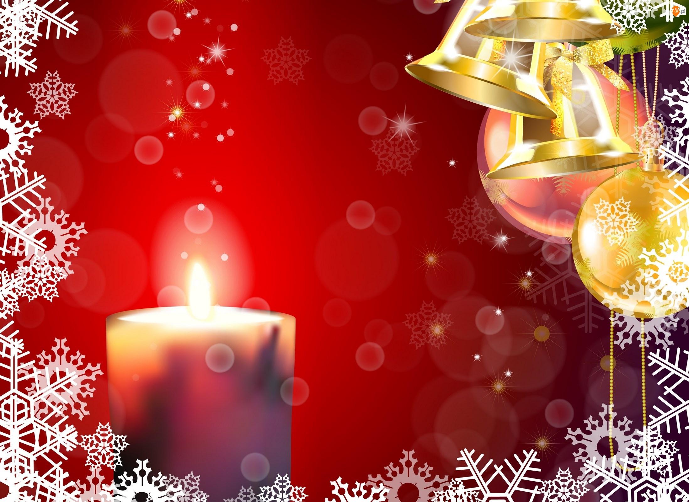 Bombki, Dekoracja, Grafika 2D, Świąteczna, Świeca, Dzwonki