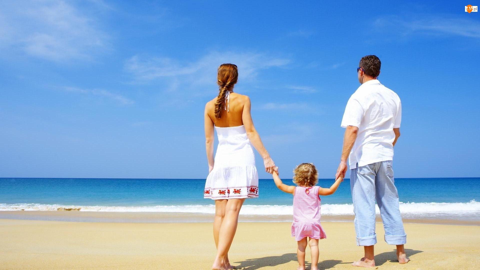 Plaża, Kobieta, Dziecko, Mężczyzna, Morze
