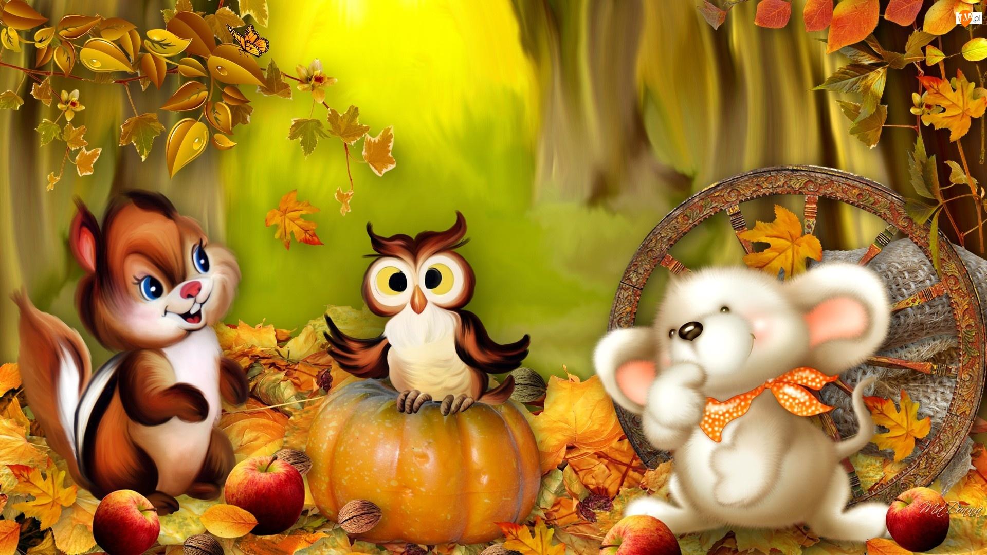Myszka, Dynia, Wiewiórka, Jabłka, Sowa, Liście