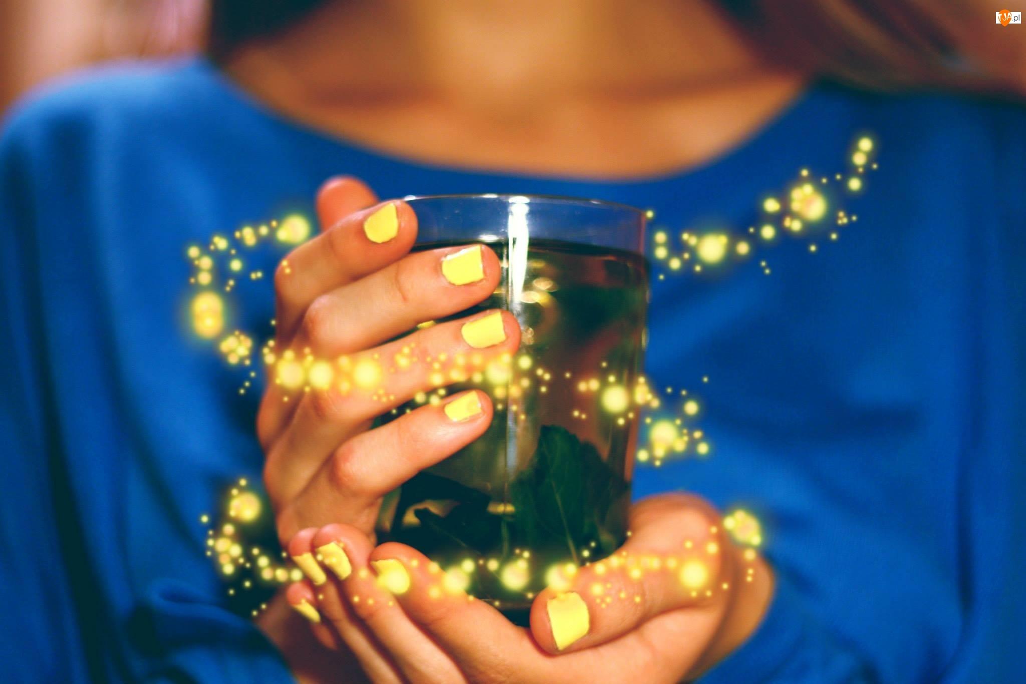 Herbata, Ręce, Kubek, Kobiety, Zielona
