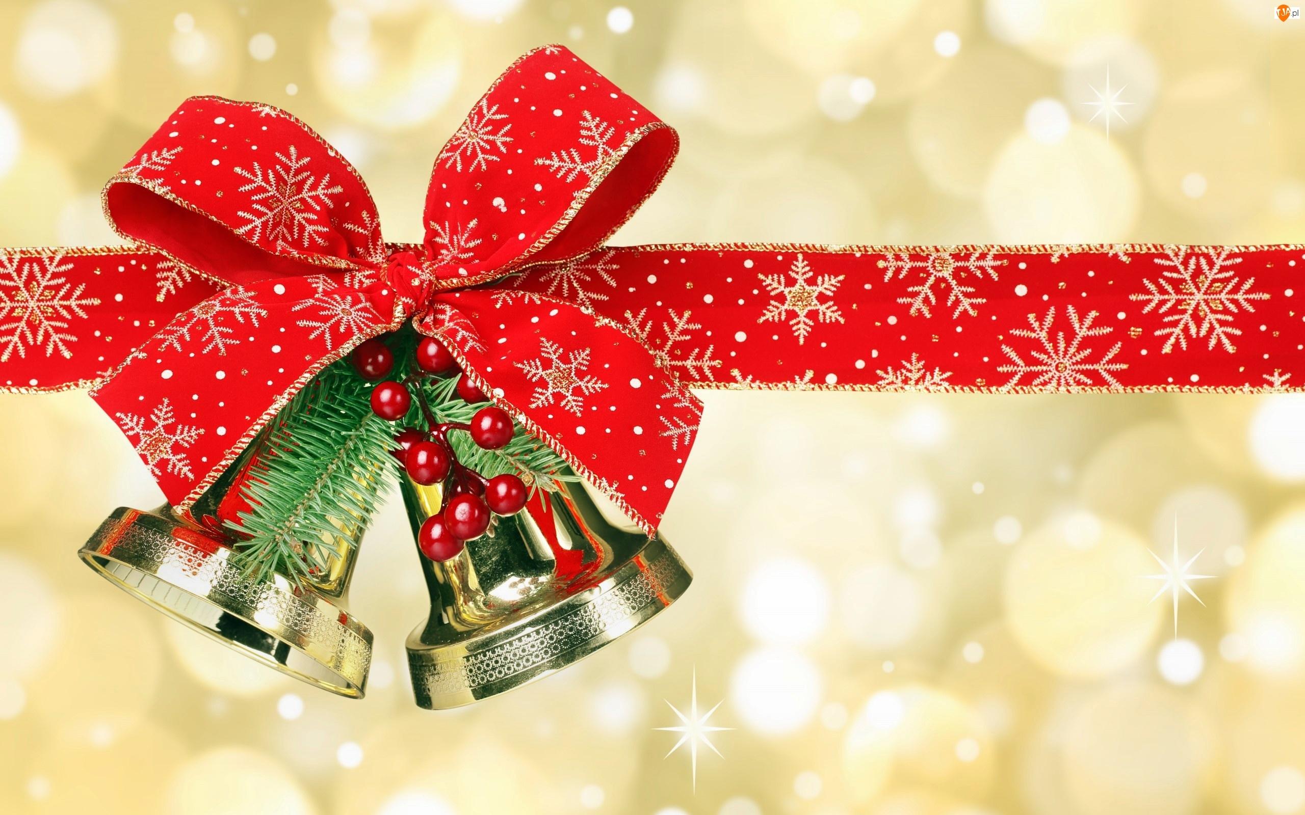 Świąteczne, Boże Narodzenie, Dzwonki, Kokarda