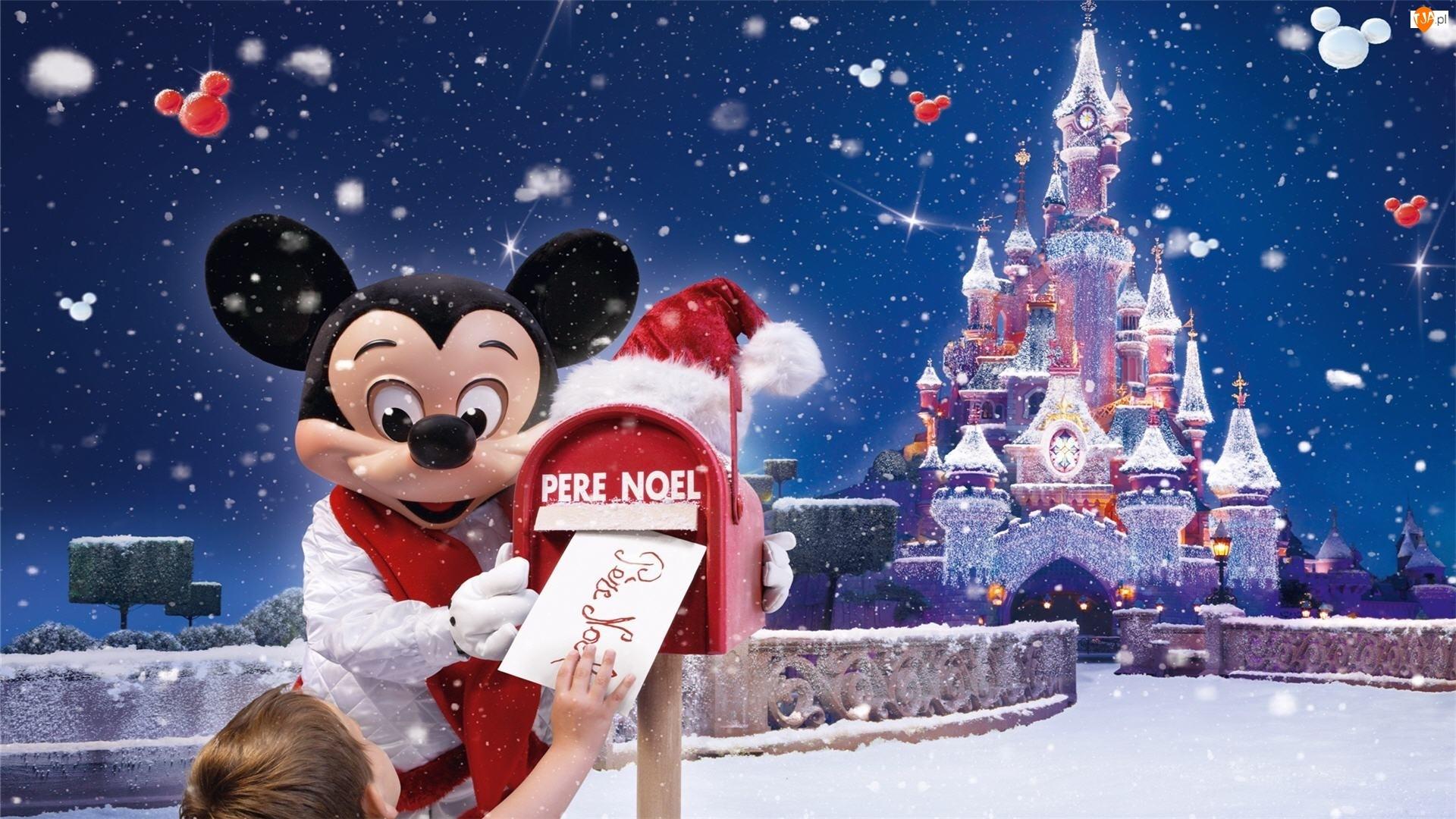Śnieg, Disneyland, List, Myszka Miki, Zamek