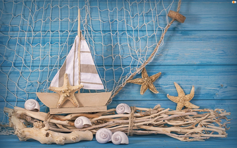 Rozgwiazdy, Marynistyka, Sieć, Statek, Muszelki