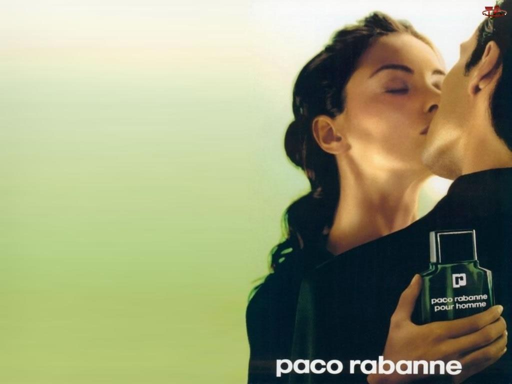 flakon, mężczyzna, Paco Rabanne, pocałunek, kobieta, perfumy