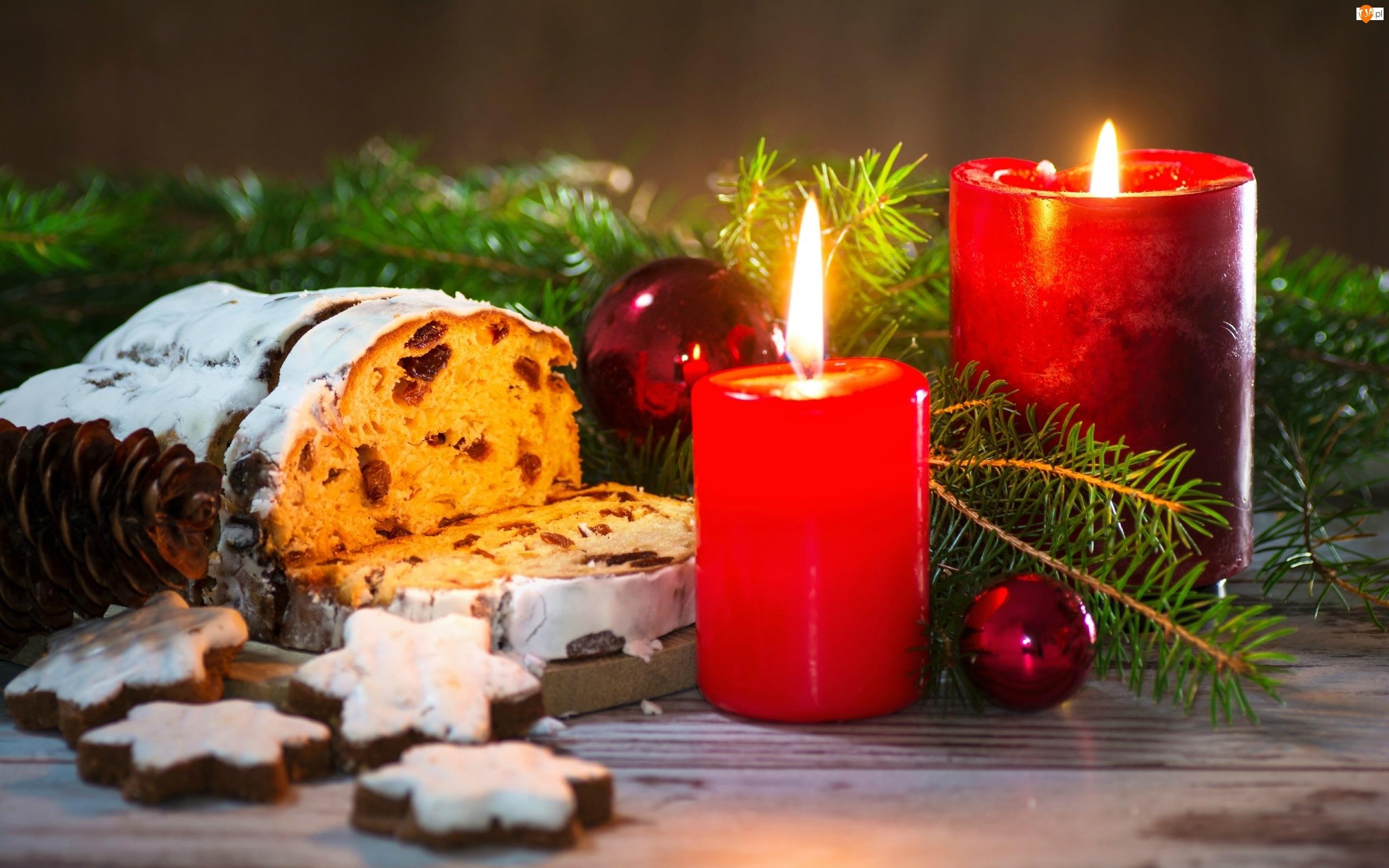 Ciasta, Boże Narodzenie, Czerwone, Kompozycja, Świece, Bombki