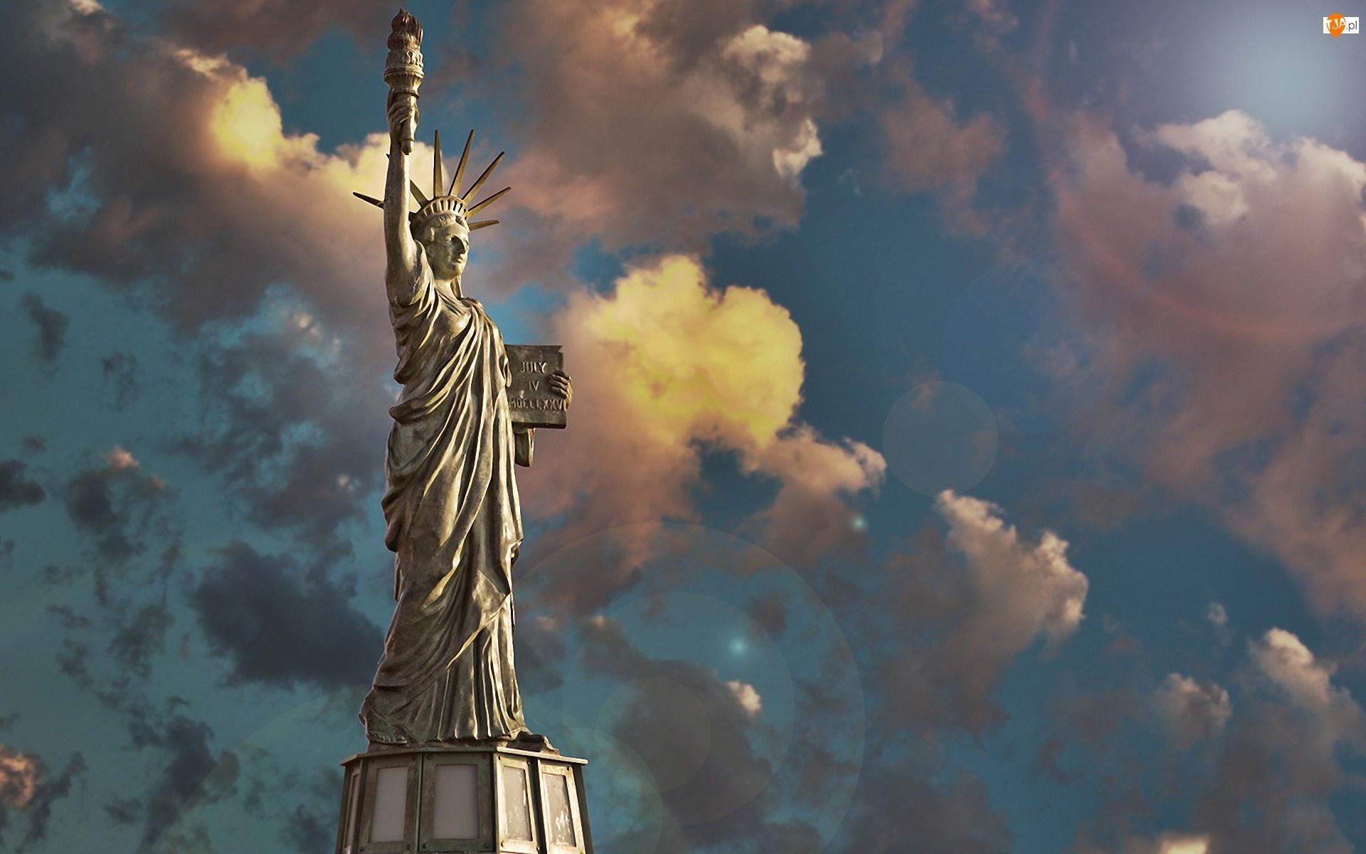 Chmury, Statua, Nowy, Wolności, Jork