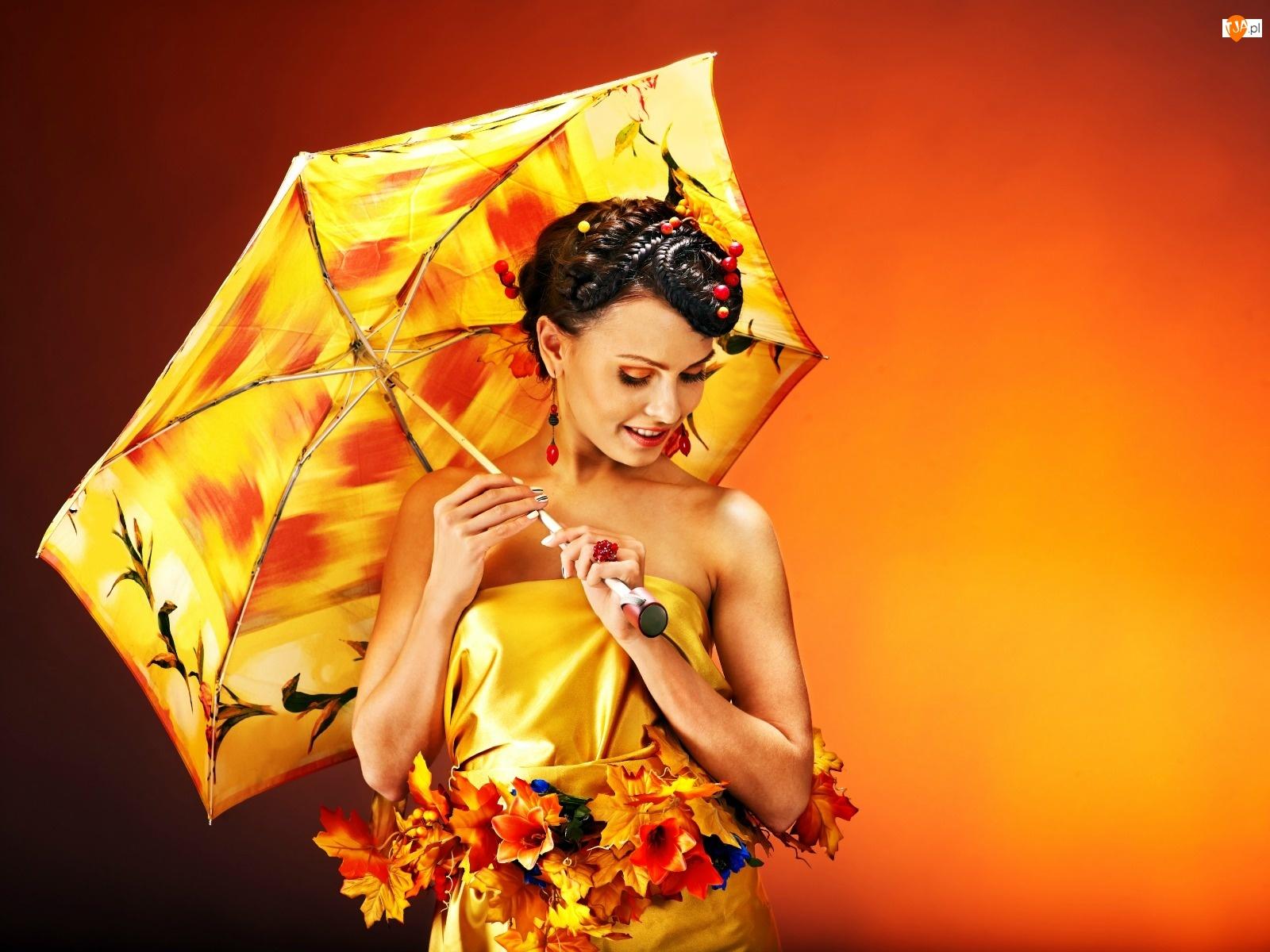 Liście, Modelka, Jesienne, Parasol, Kwiaty
