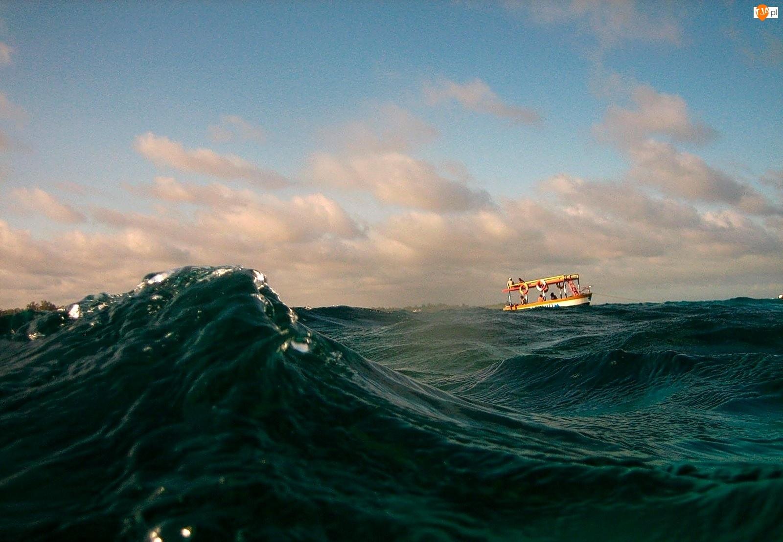 Łódka, Morze, Fala
