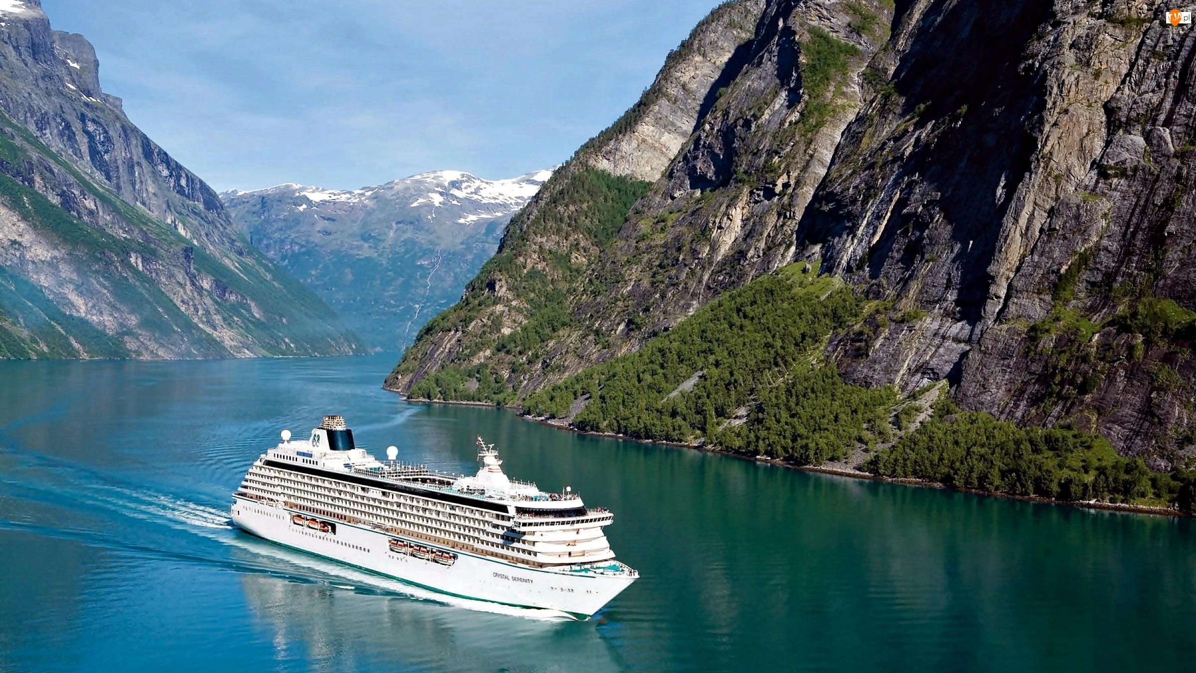 Norwegia, Statek, Góry, Fiord Geirangerfjorden