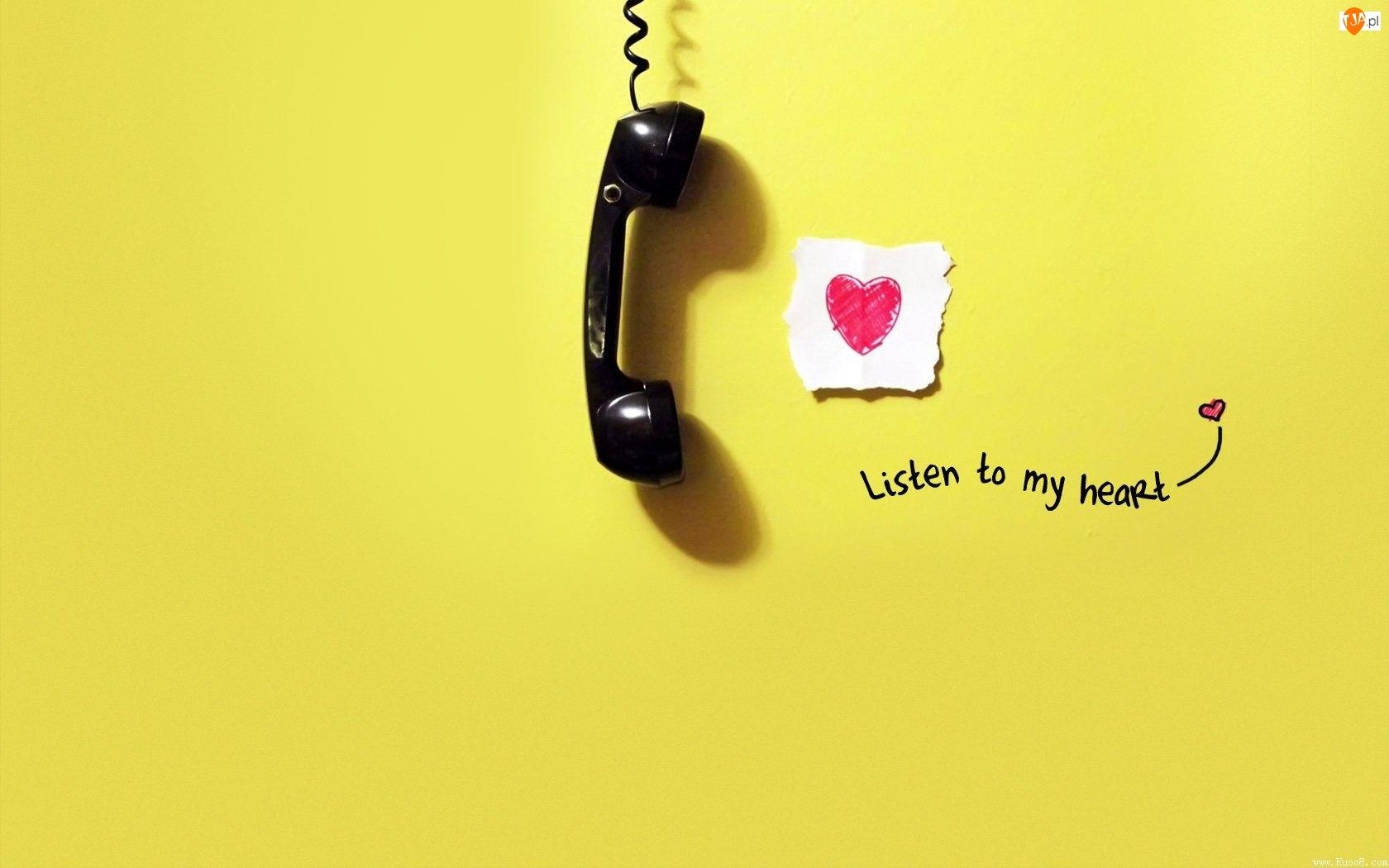 Telefon, Serduszko, Napis