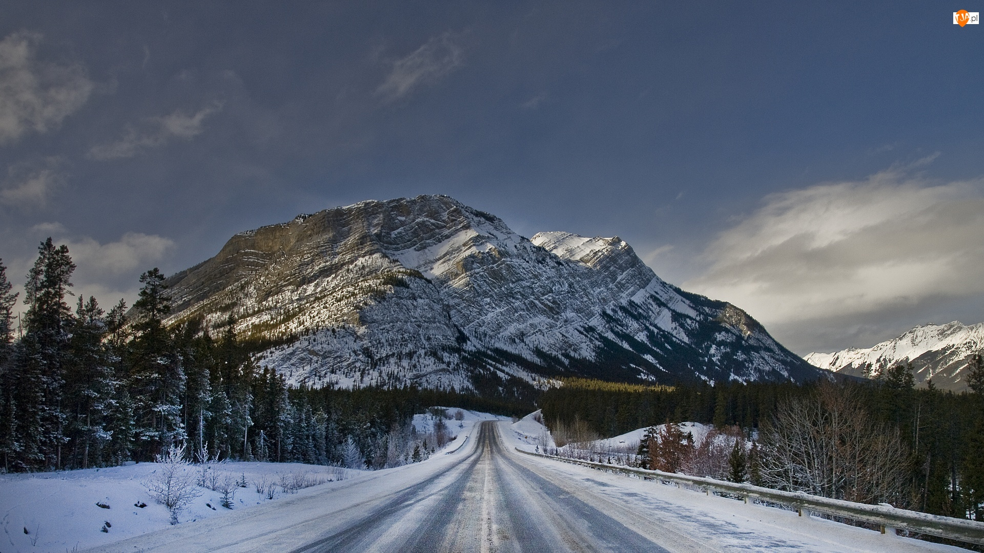 Góra, Śnieg, Droga, Drzewa