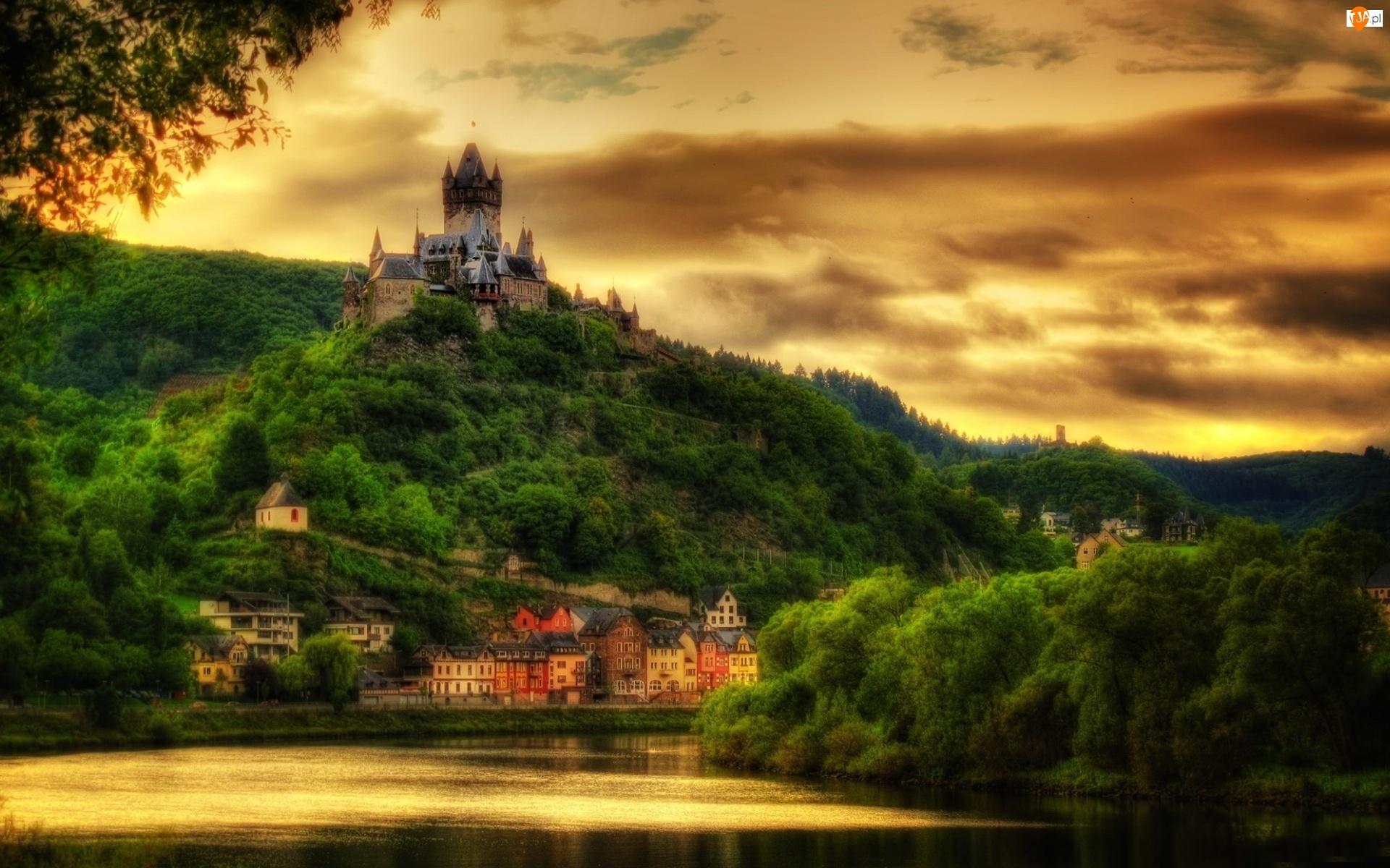 Jezioro, Zamek, Cochem, Reichsburg, Wzgórze
