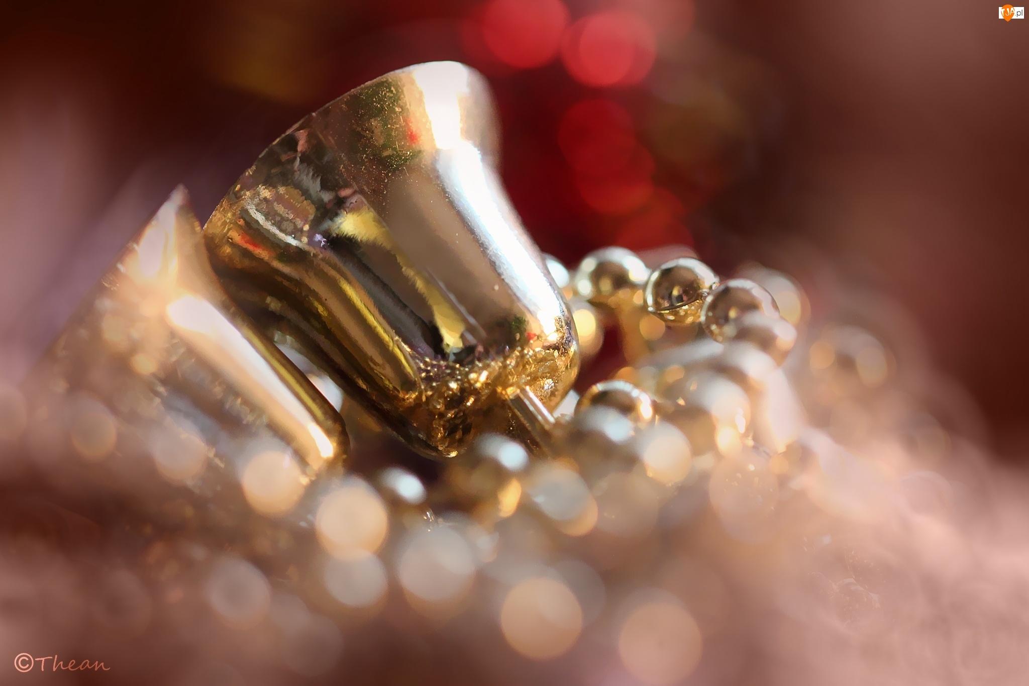 Złote, Boże Narodzenie, Dzwonki, Ozdoby