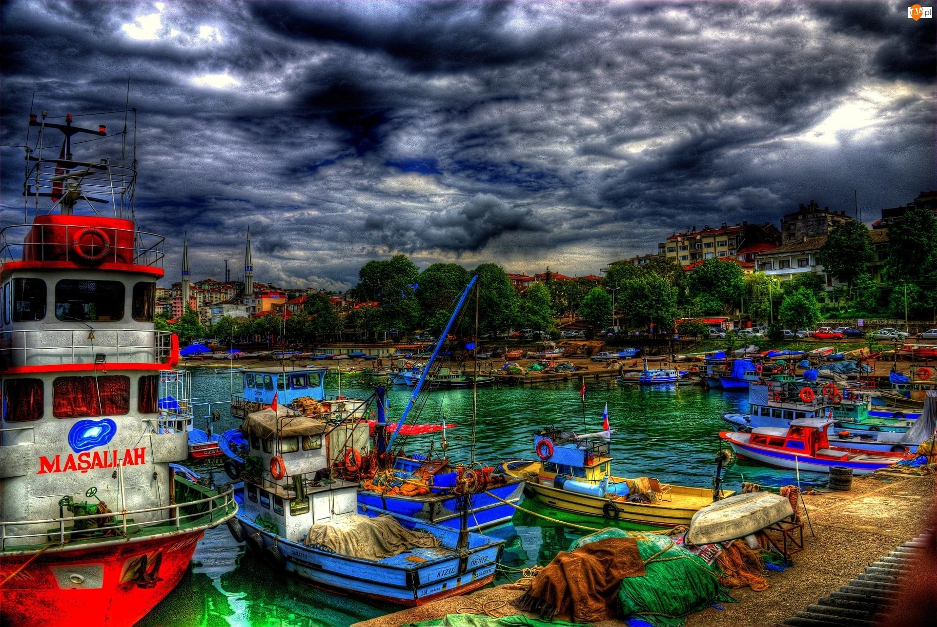 Turcja, Port, Kutry, Motorówki, Chmury