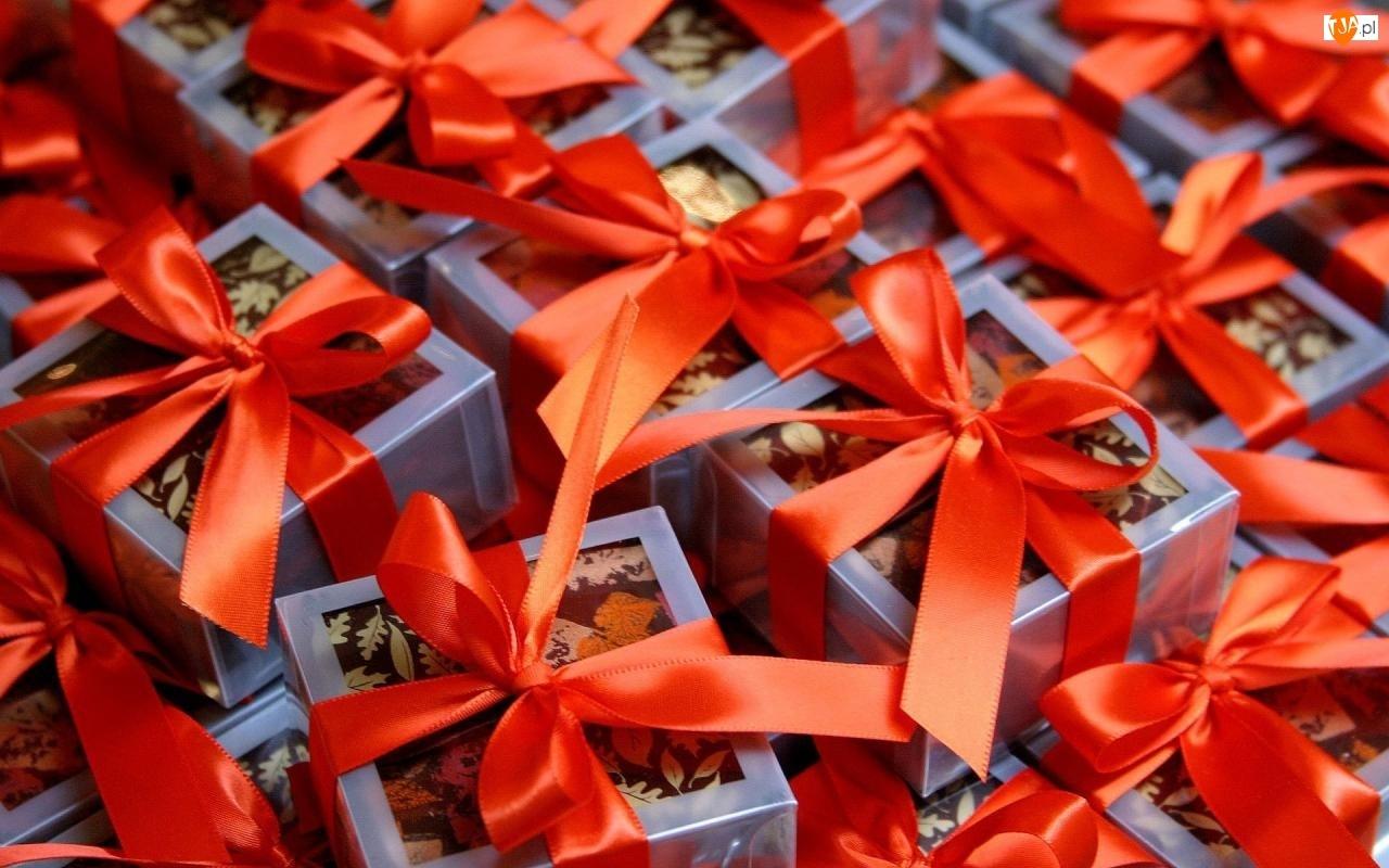 Kokardki, Boże, Prezenty, Narodzenie, Pomarańczowe