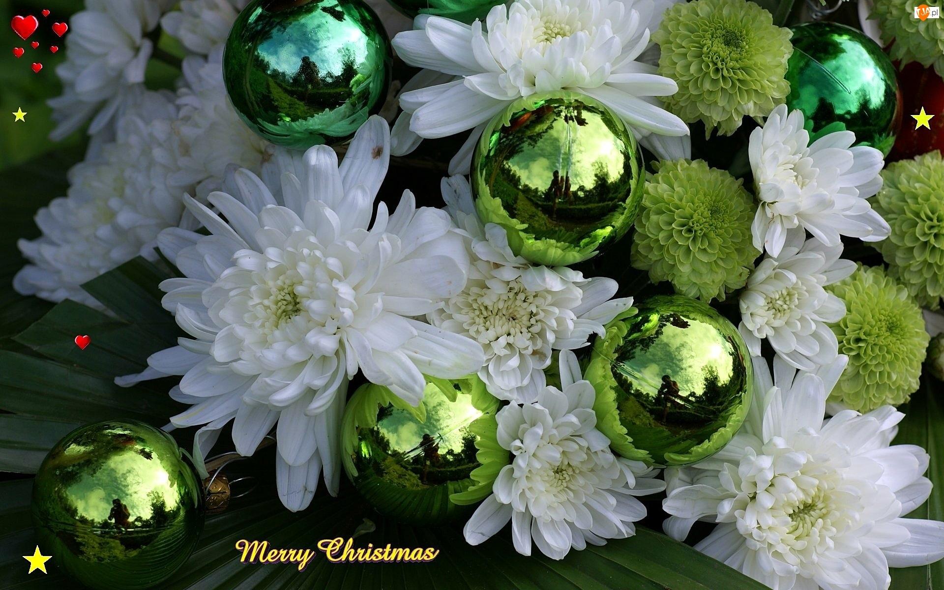 Bombki, Białe, Chryzantemy, Zielone, Kolorowe
