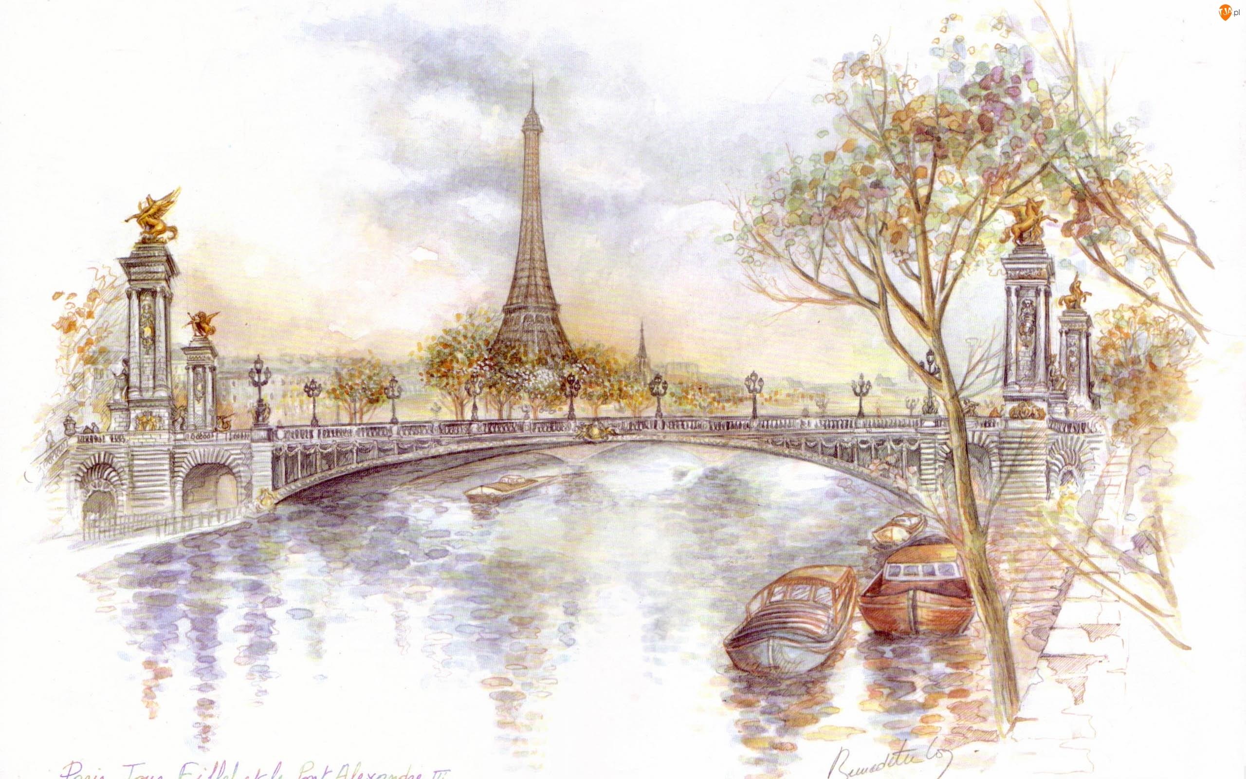 Rysunek, Paryż, Wieża, Eiffla