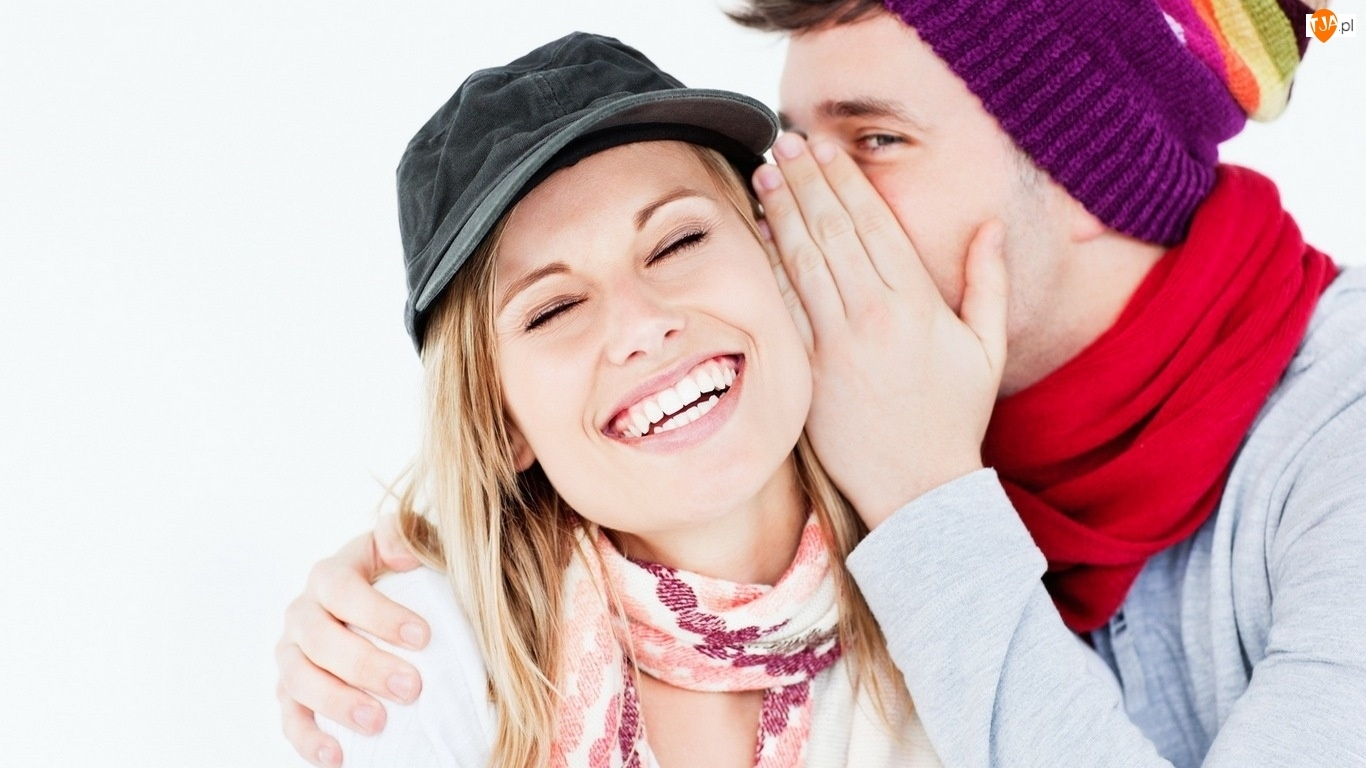 Uśmiech, Spojrzenie, Para, Czapki, Przyjaźń, Sekret